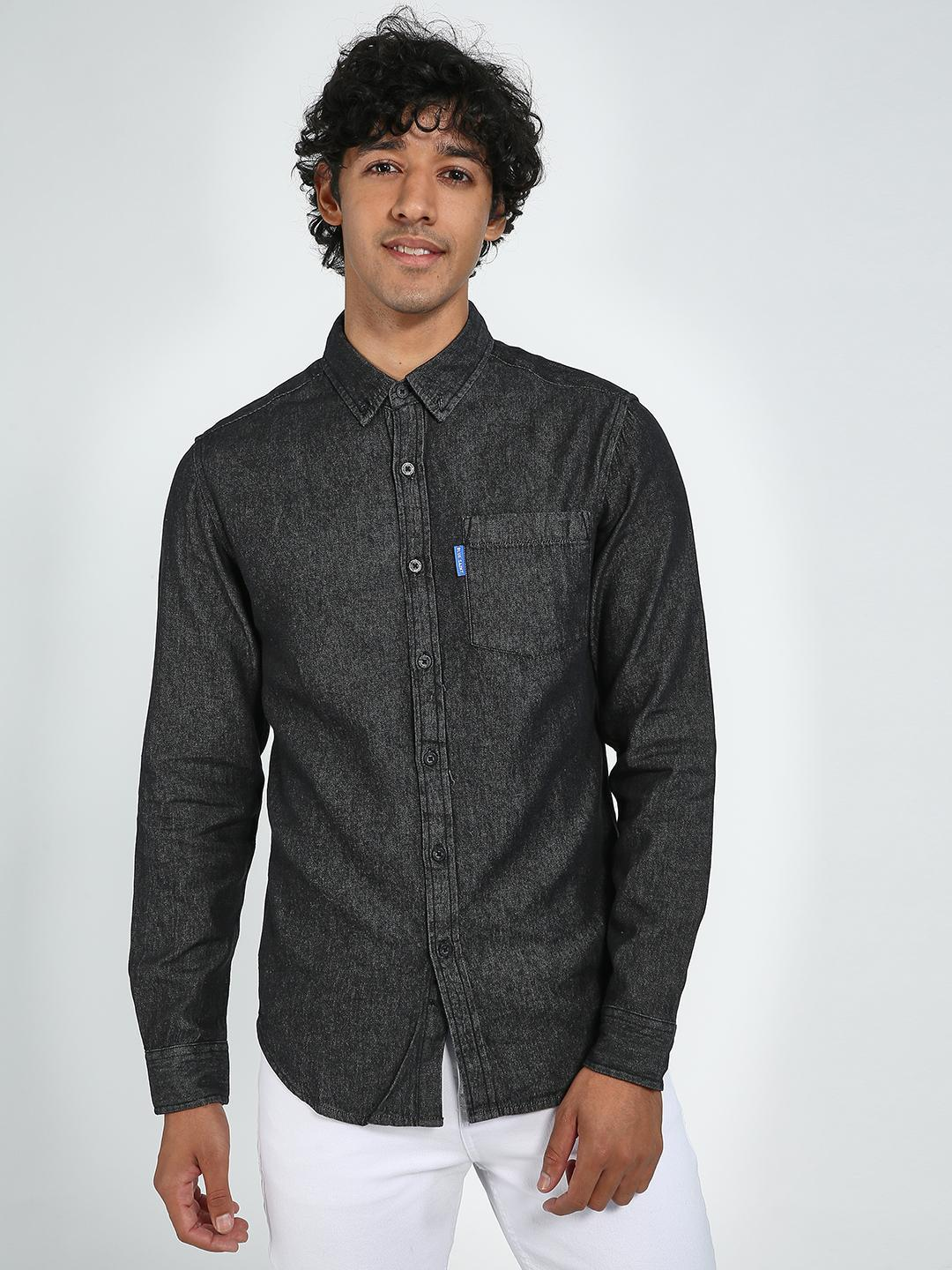 Blue Saint Black Patch Pocket Casual Shirt 1