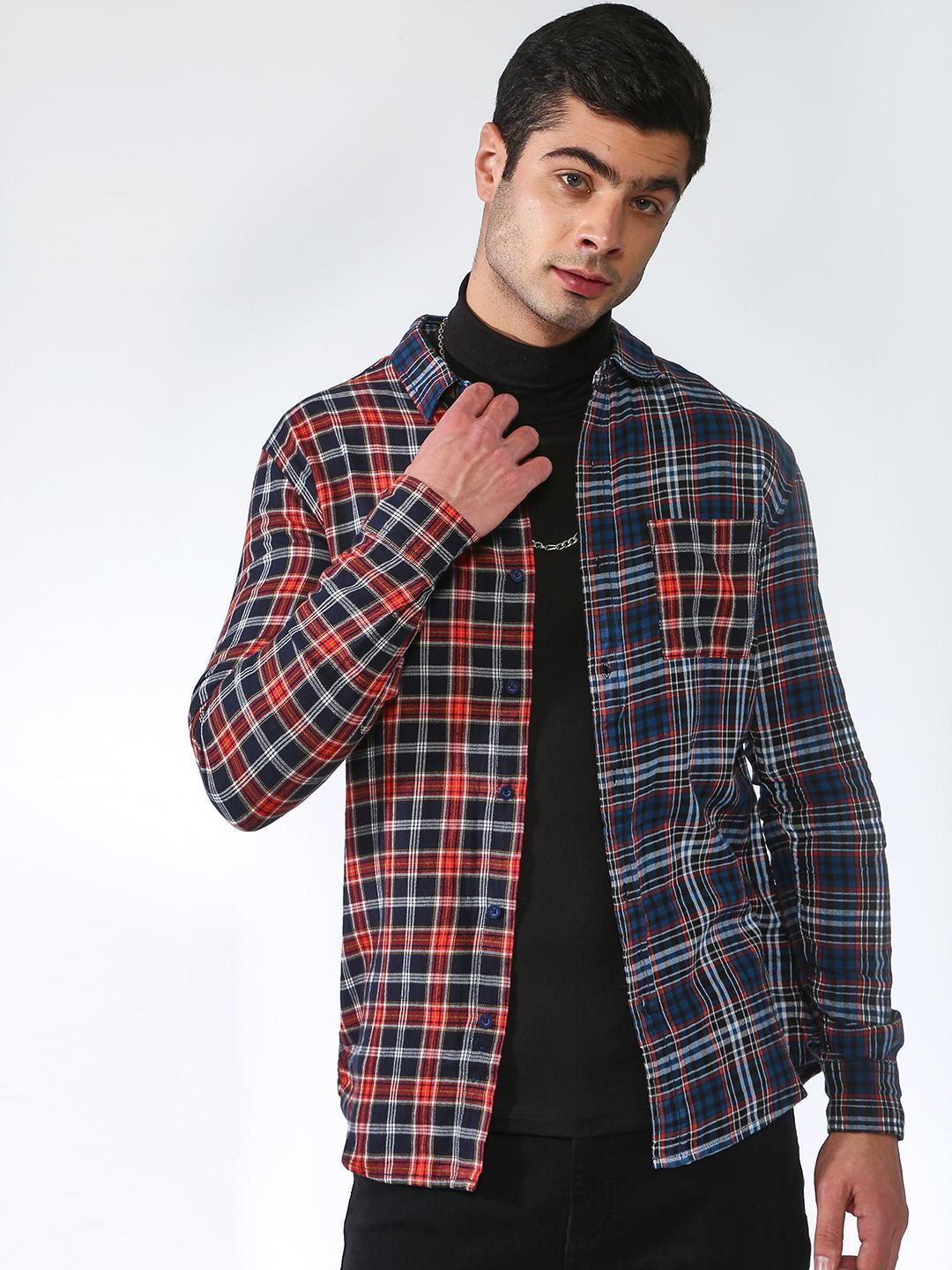 Blue Saint Red/Blue Contrast Half And Half Tartan Check Casual Shirt 1