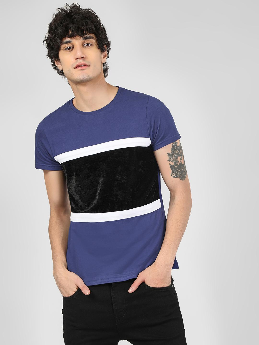 Blue Saint Blue Velour Panel T-Shirt 1