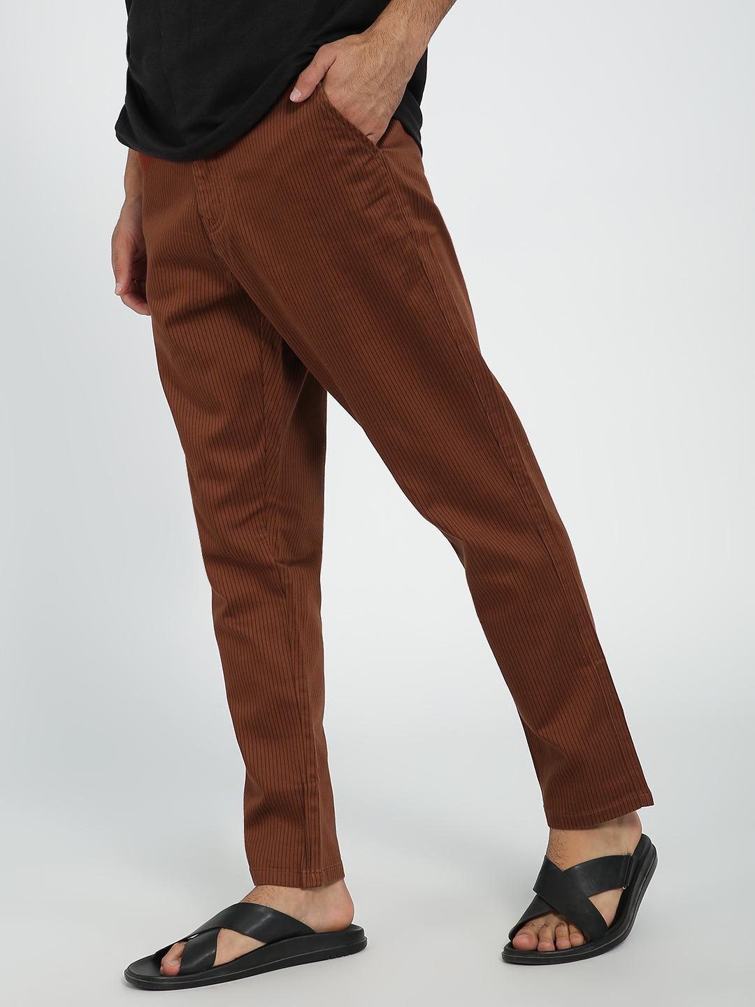 REALM Rust Strip Vertical Stripe Slim Trouser 1