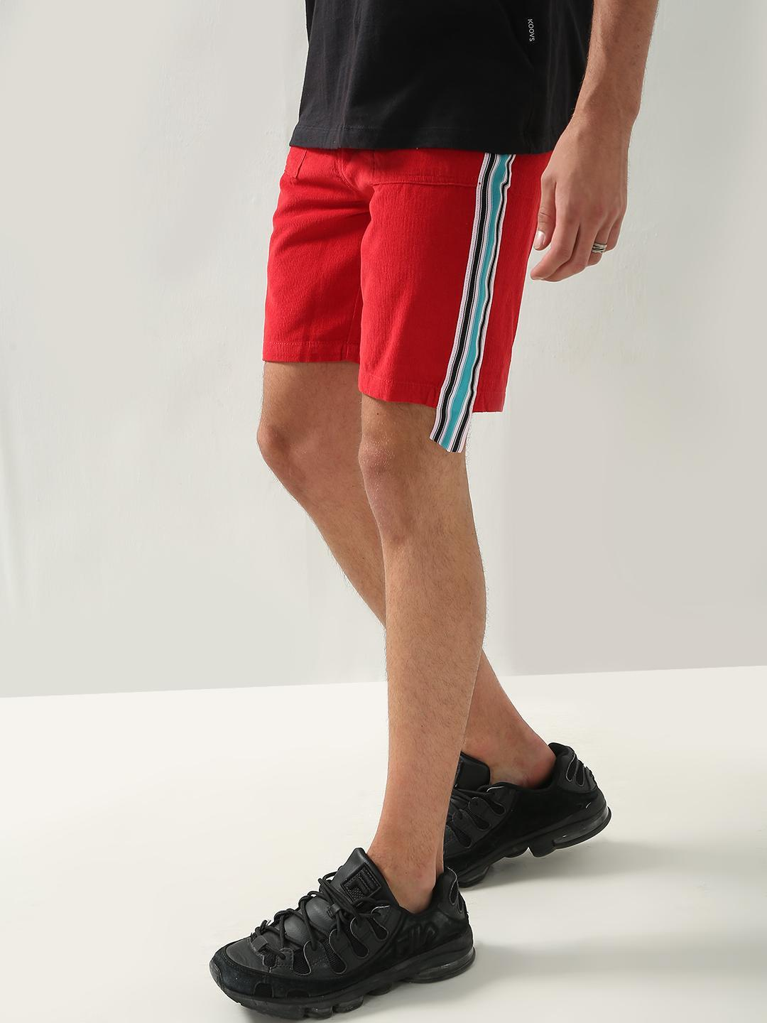 REALM Red Contrast Side Tape Corduroy Shorts 1