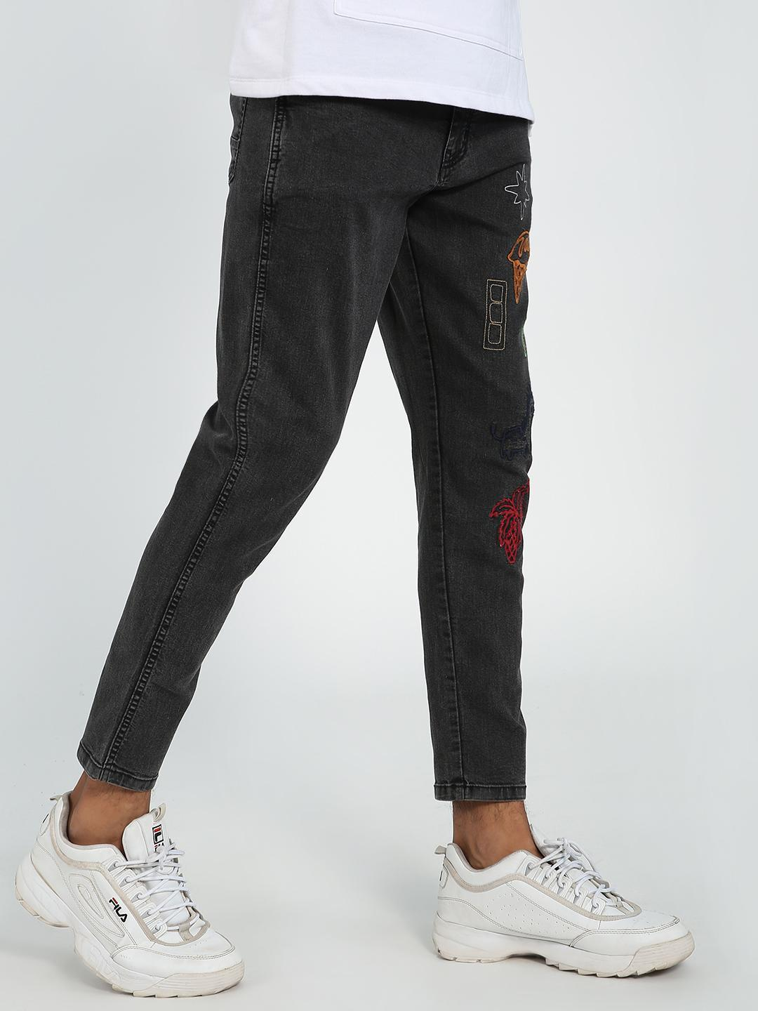REALM Black Washed Embroidered Patch Slim Jeans 1