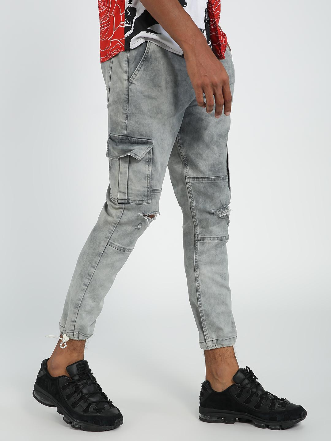 REALM Grey Knee Ripped Jogger Jeans 1