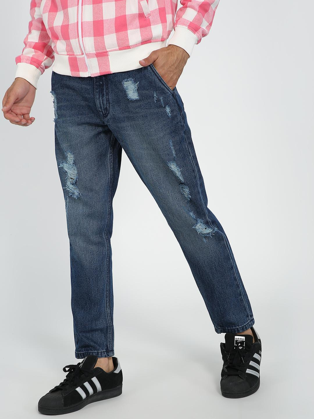 REALM Blue Mid-Wash Distressed Cropped Slim Jeans 1