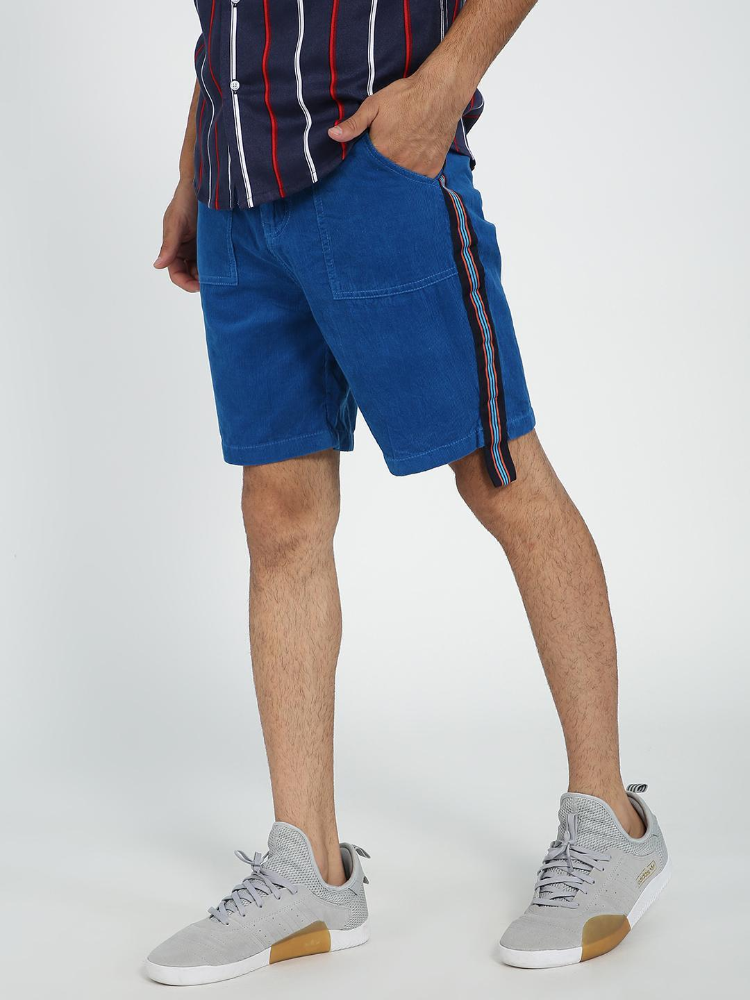 REALM Blue Contrast Side Tape Corduroy Shorts 1