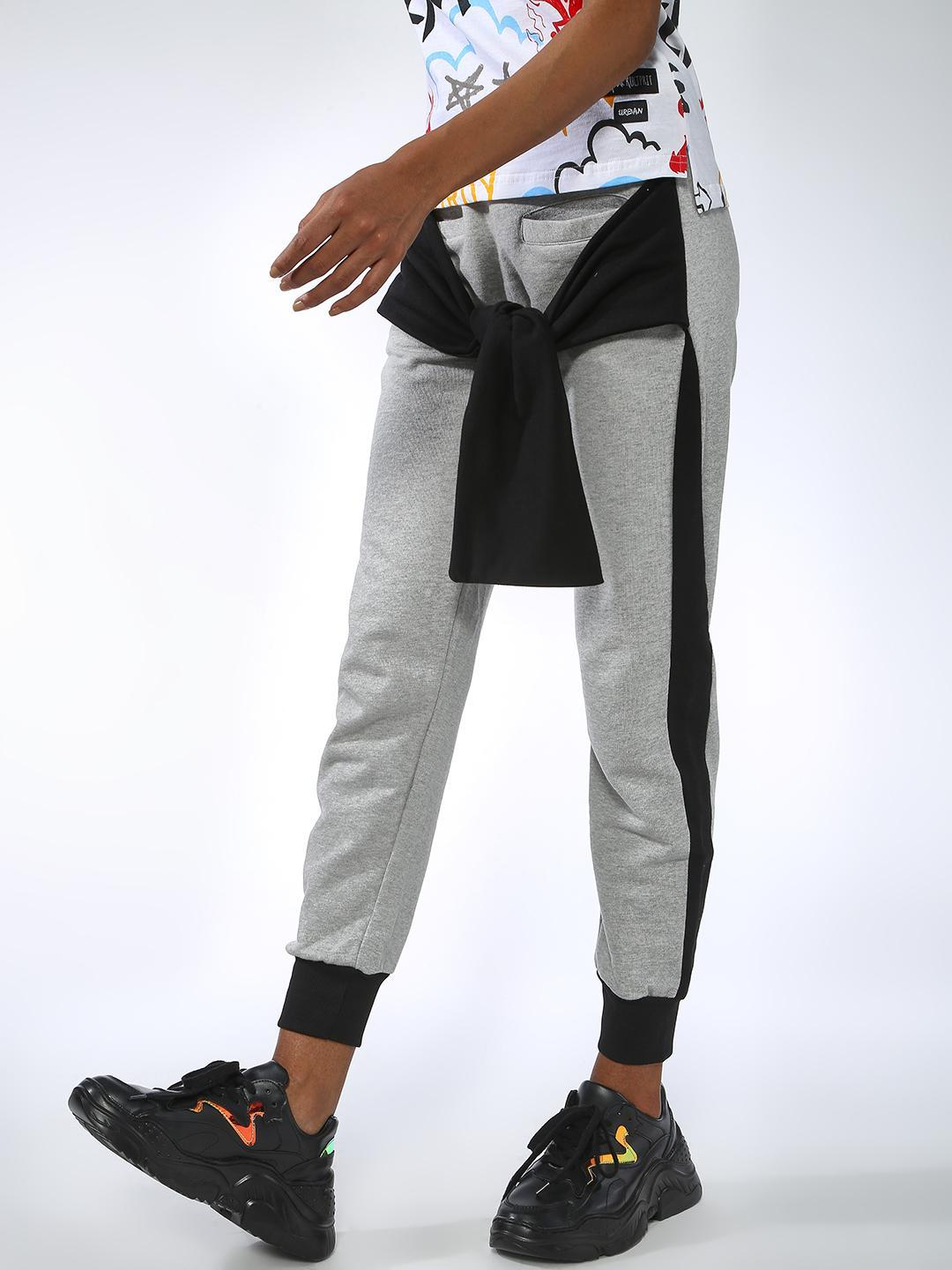 Kultprit Gray Contrast Side Tape Tie-Up Joggers 1