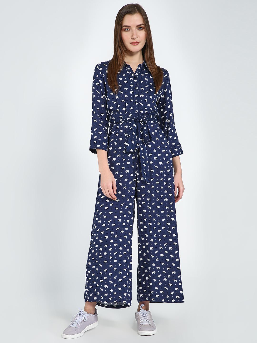 Femella Blue Jumpsuit In Elephant Print Twill And Moss Polka 1