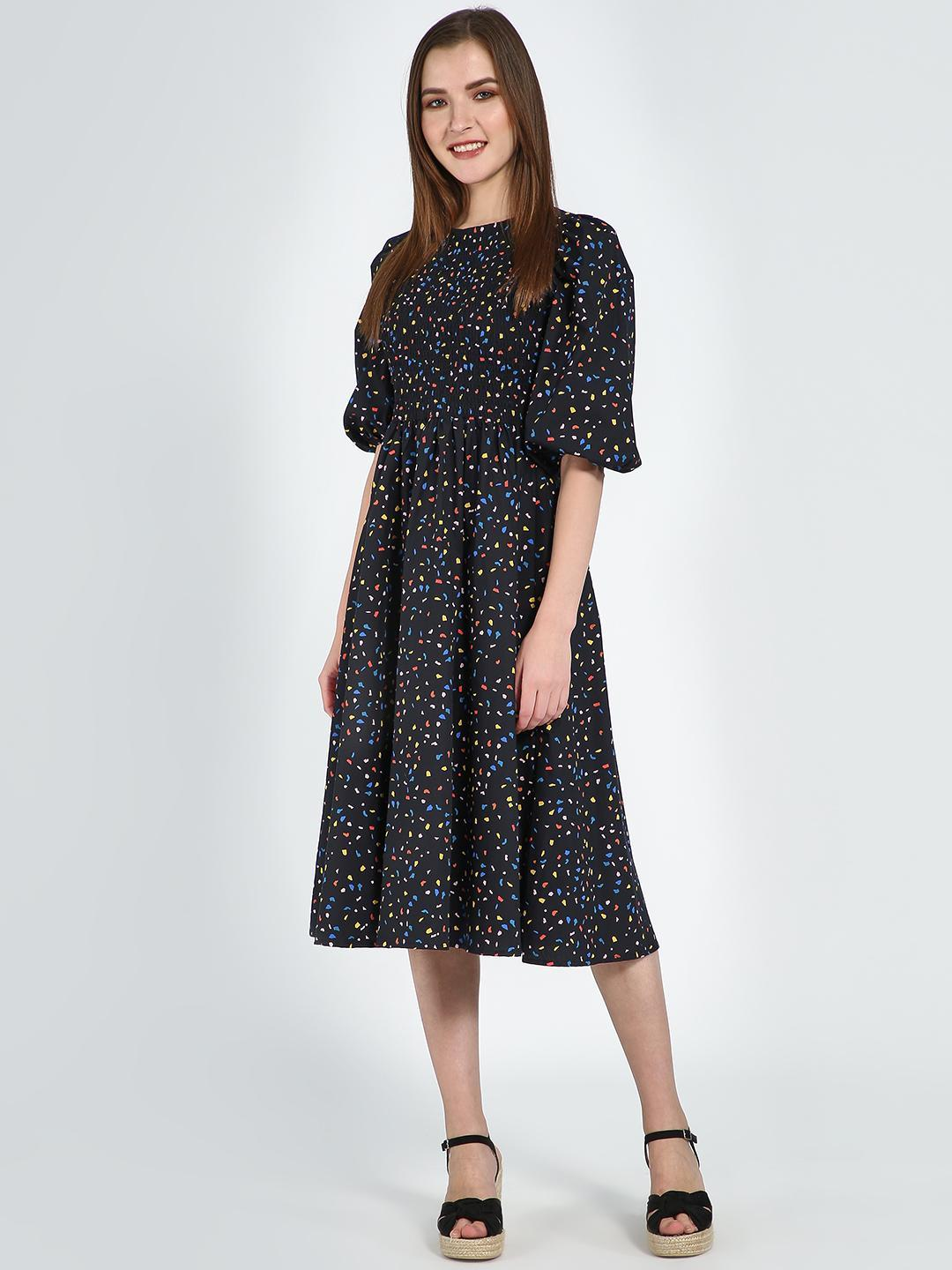 Femella Black Confetti Printed Cotton Smocked Dress 1