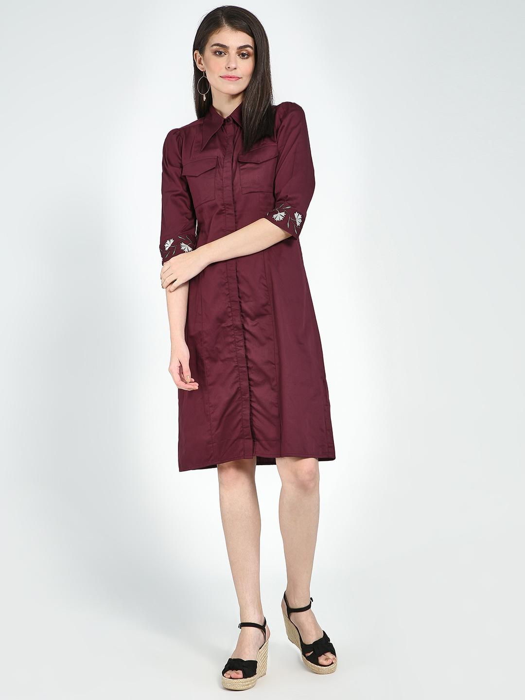 Femella Wine Twin Pocket Shirt Dress 1