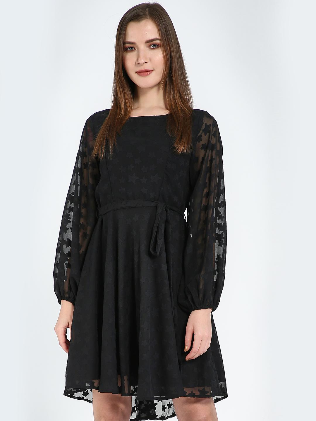 Femella Black Black Textured Fit And Flare Belted Dress 1