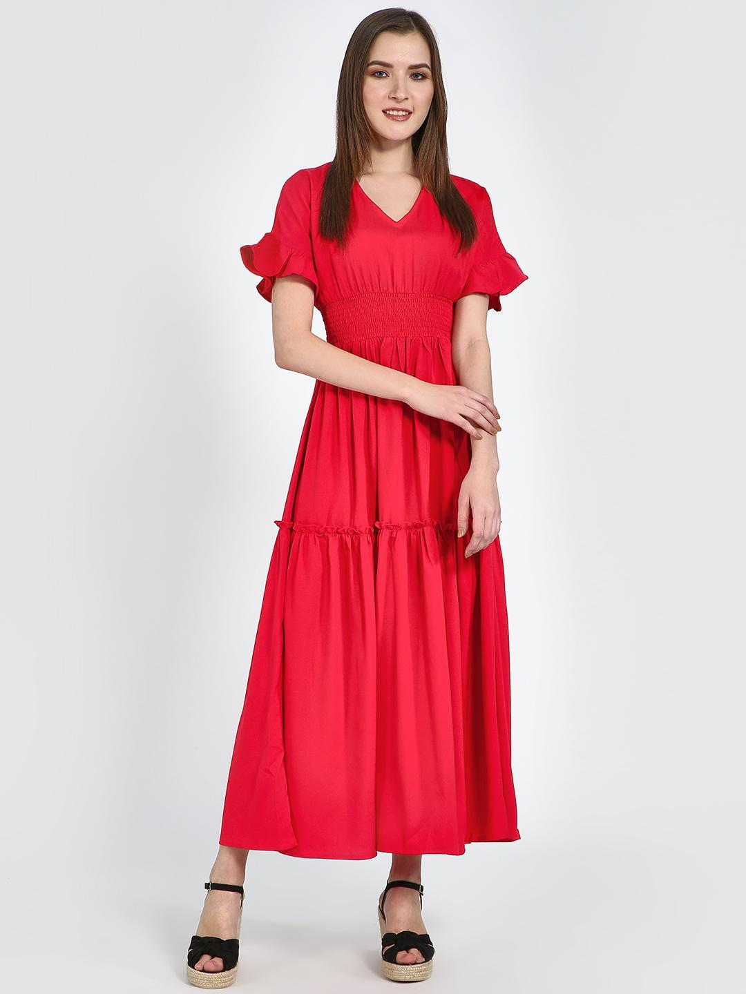Femella Red Smocked V Neck Maxi Dress 1