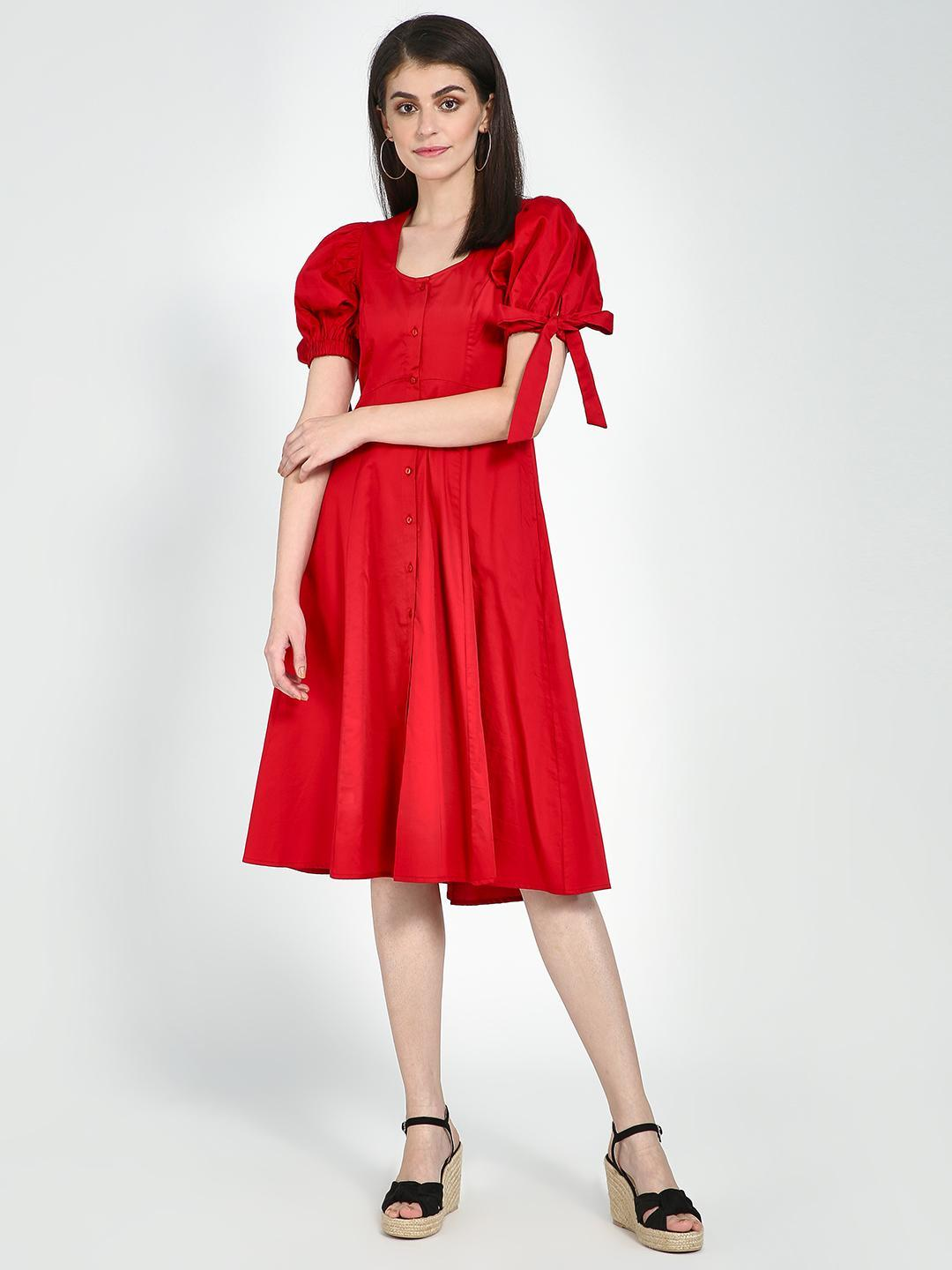 Femella Red Tieup Detail Midi Dress 1