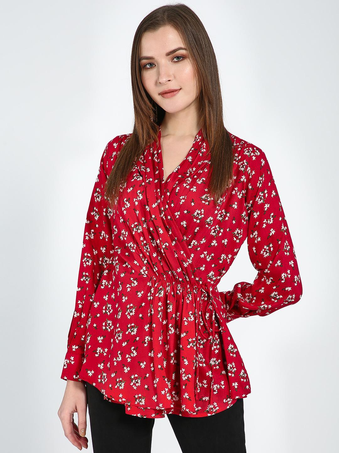 Femella Red Red Floral Wrap Pleated Top 1