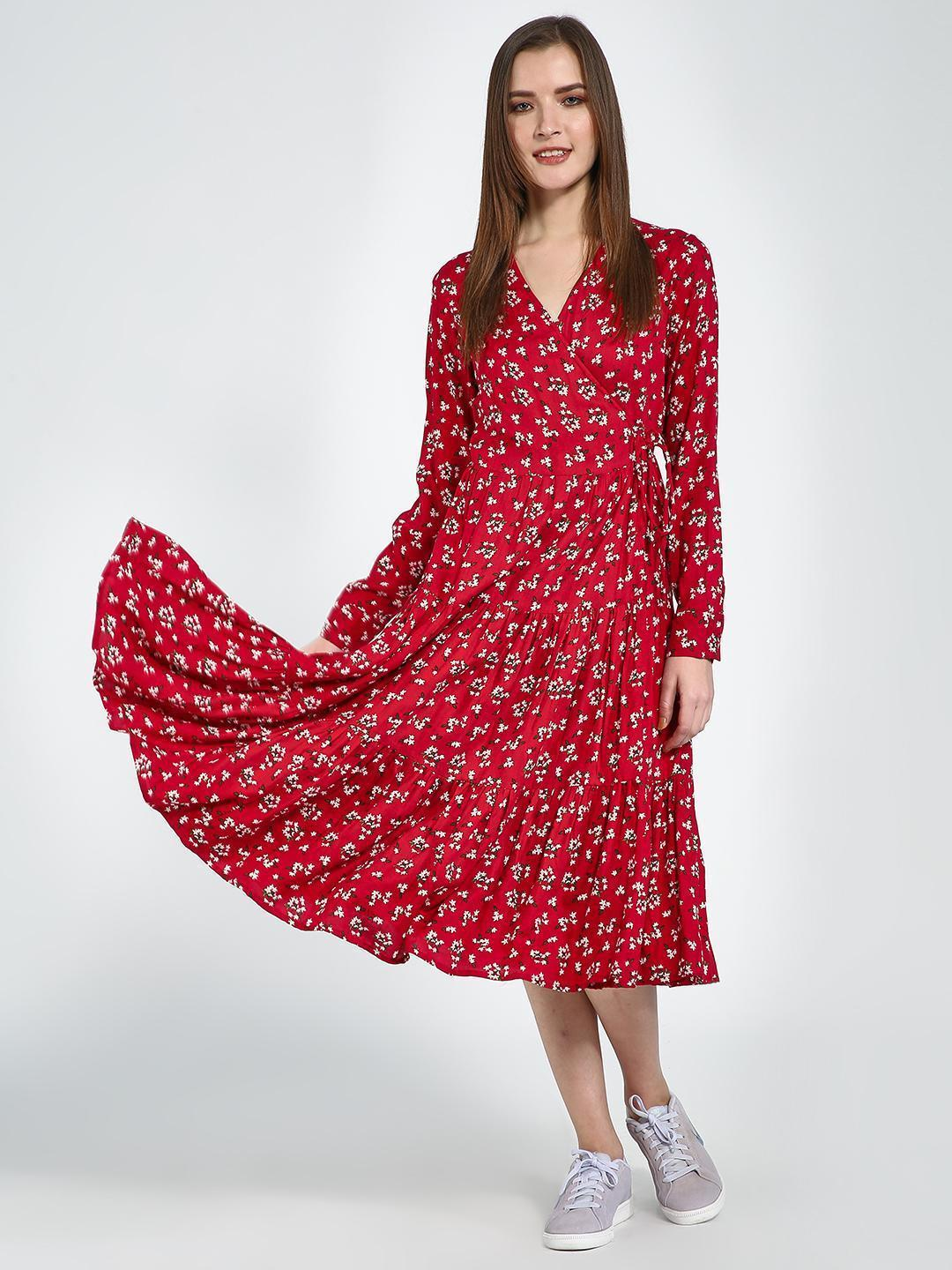 Femella Red Floral Wrap Midi Dress 1