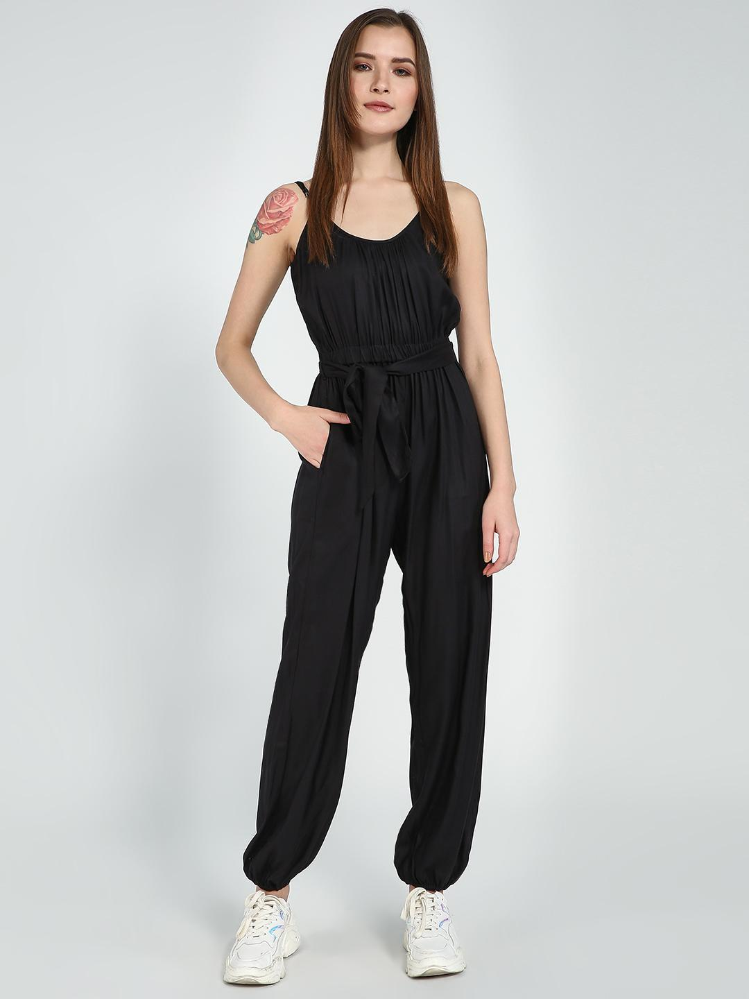 Femella Black Basic Sleeveless Jumpsuit 1