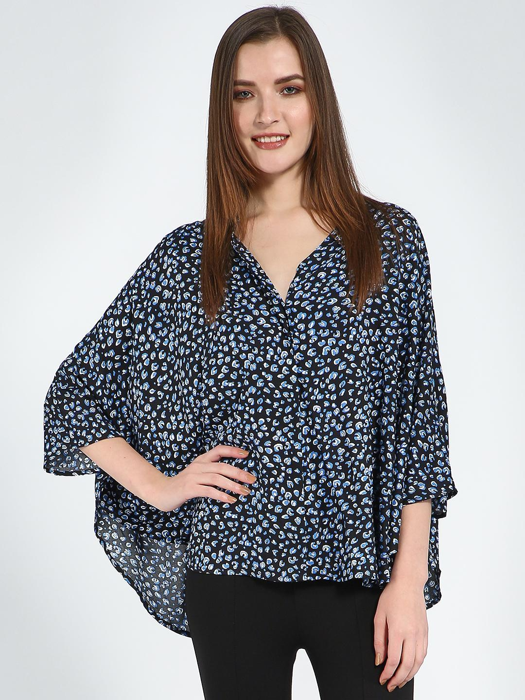 Femella Black Black Ditsy Oversized Button Down Shirt 1