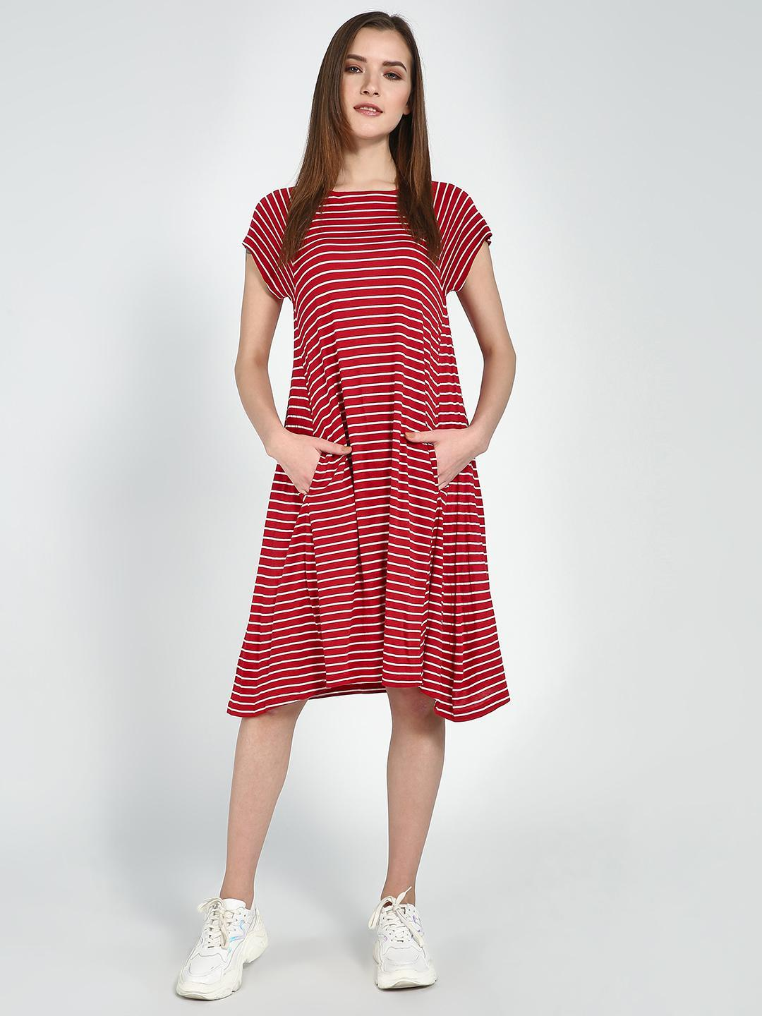 Femella Red All Over Horizontal Stripe Shift Dress 1