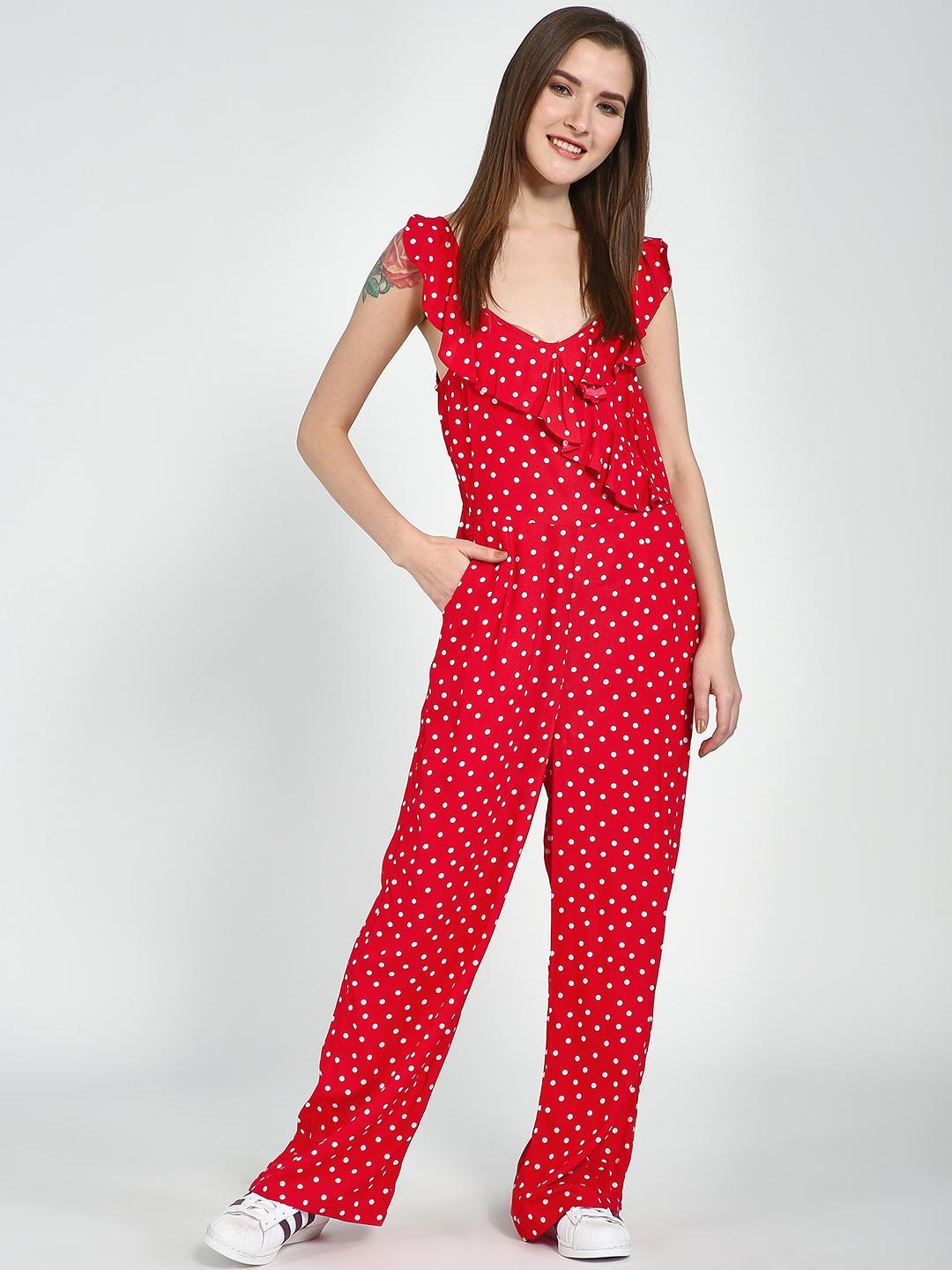 Femella Red Ditsy Polka Ruffle Jumpsuit 1