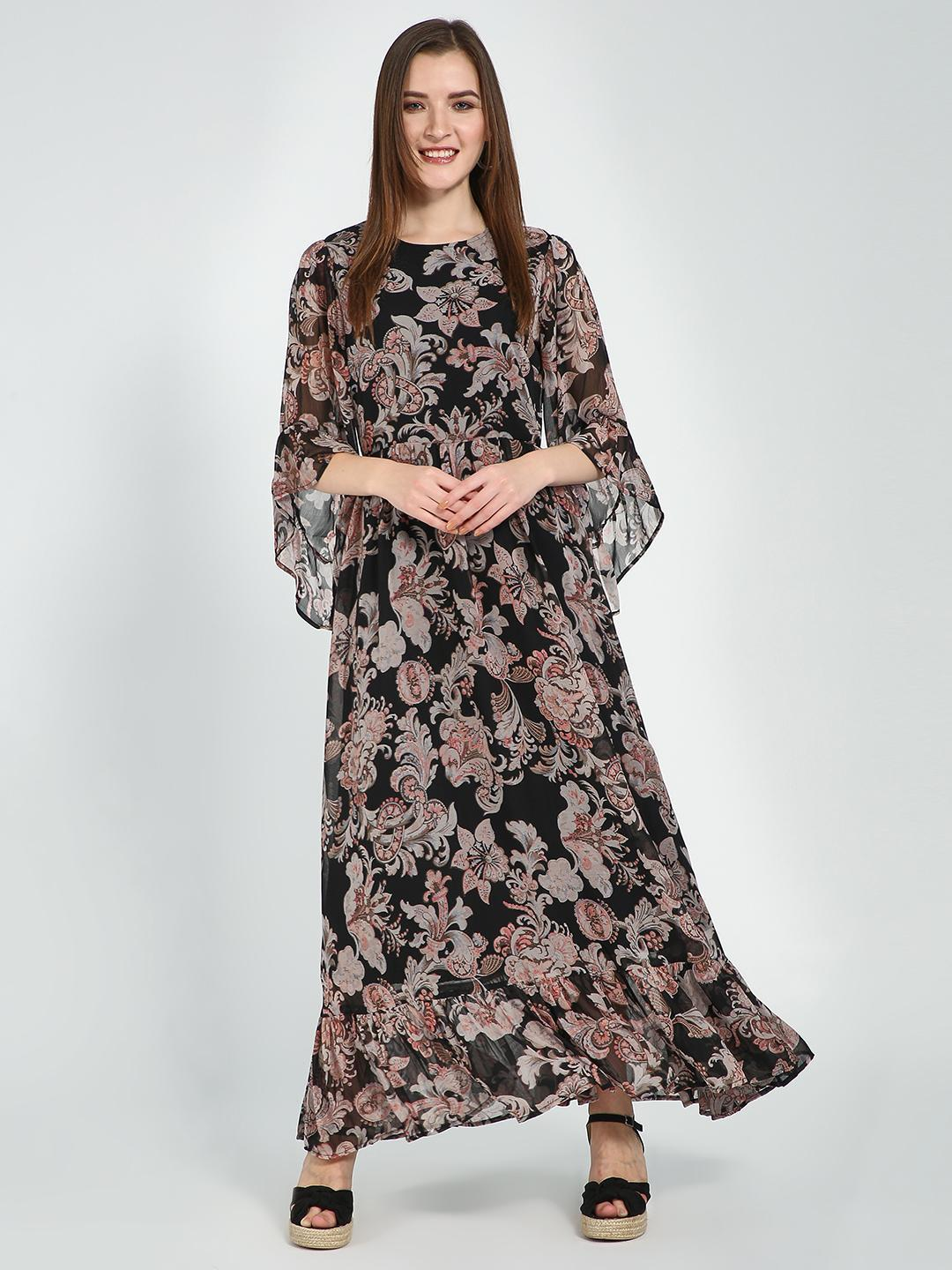 Femella Black Tropical Print Maxi Dress 1