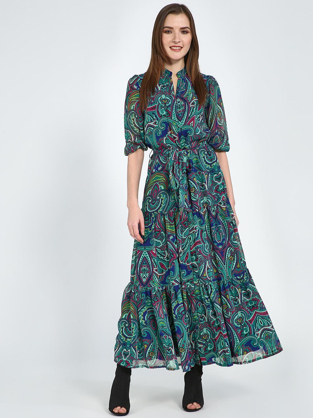 Femella Green Paisley Print Tie-Knot Maxi Dress 1