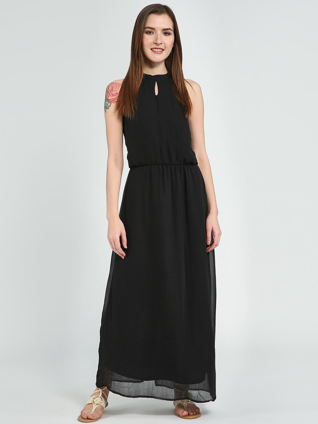 Femella Black Pleated Halter Neck Maxi Dress 1