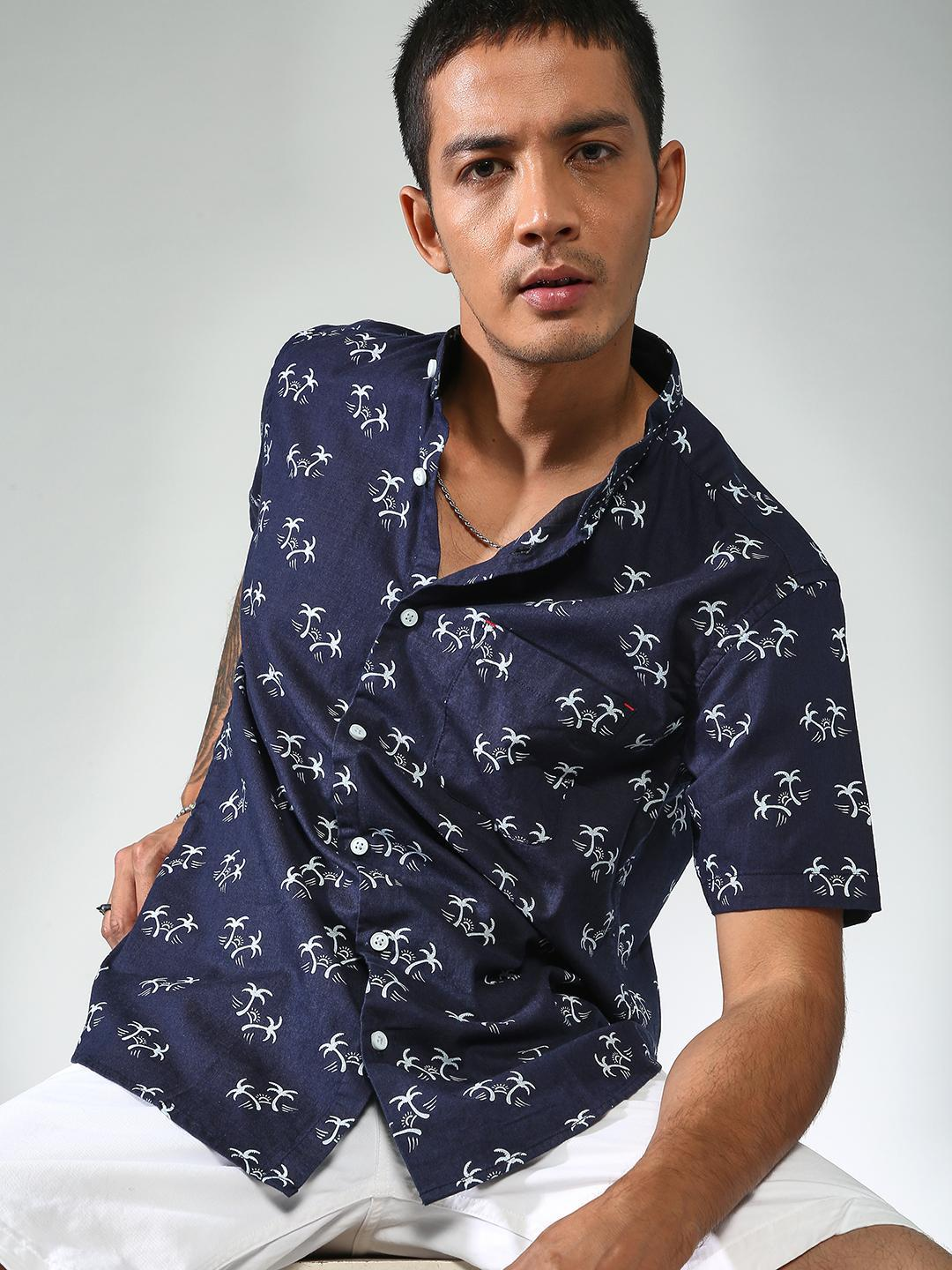 AMON Black All Over Printed Slim Fit Shirt 1