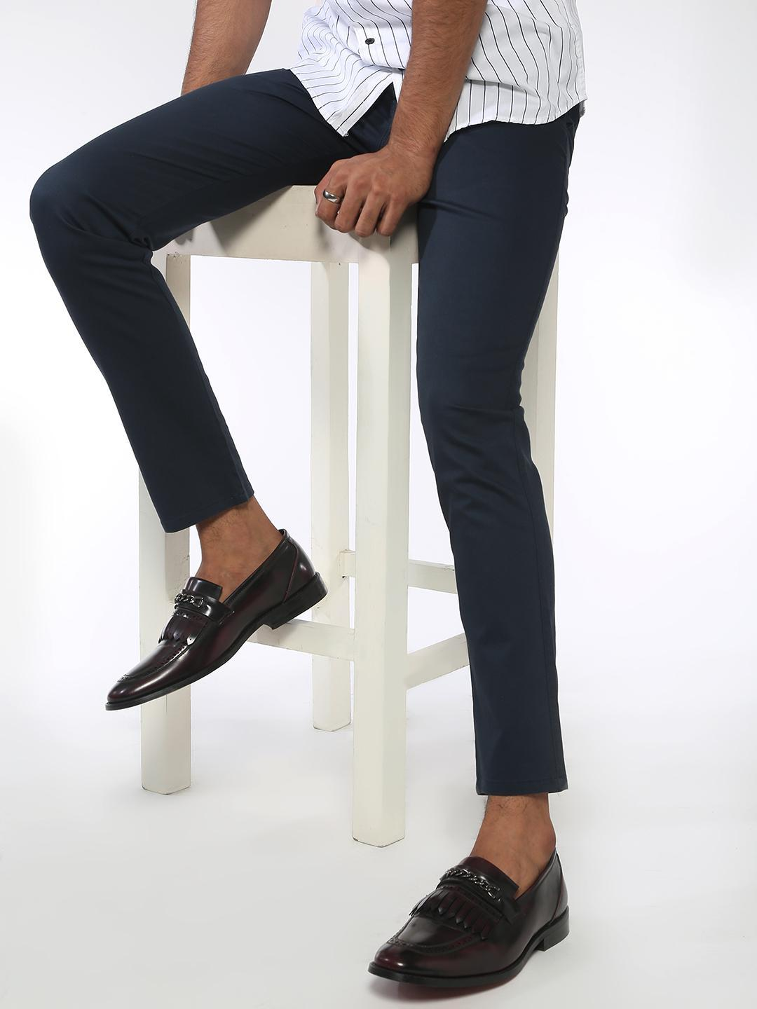 AMON Navy Basic Slim Fit Trousers 1