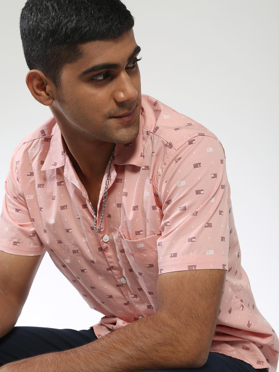 AMON Pink All Over Printed Short Sleeve Shirt 1