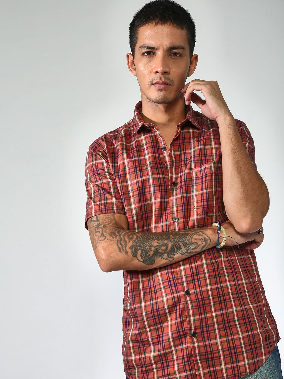 AMON Multi Placket Checkered Half Sleeve Shirt 1