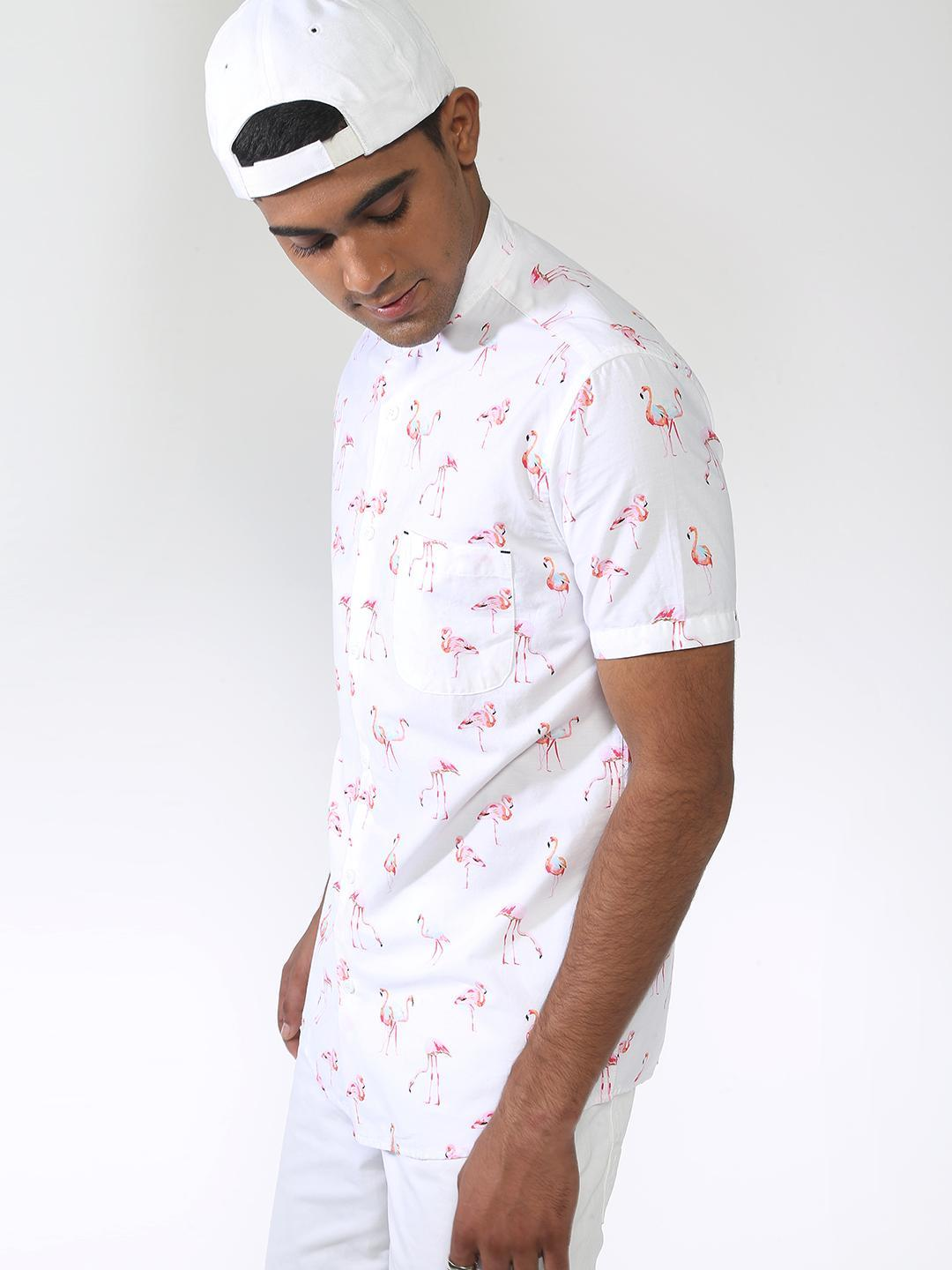 AMON White Mandarin Collar Flamingo Print Casual Shirt 1