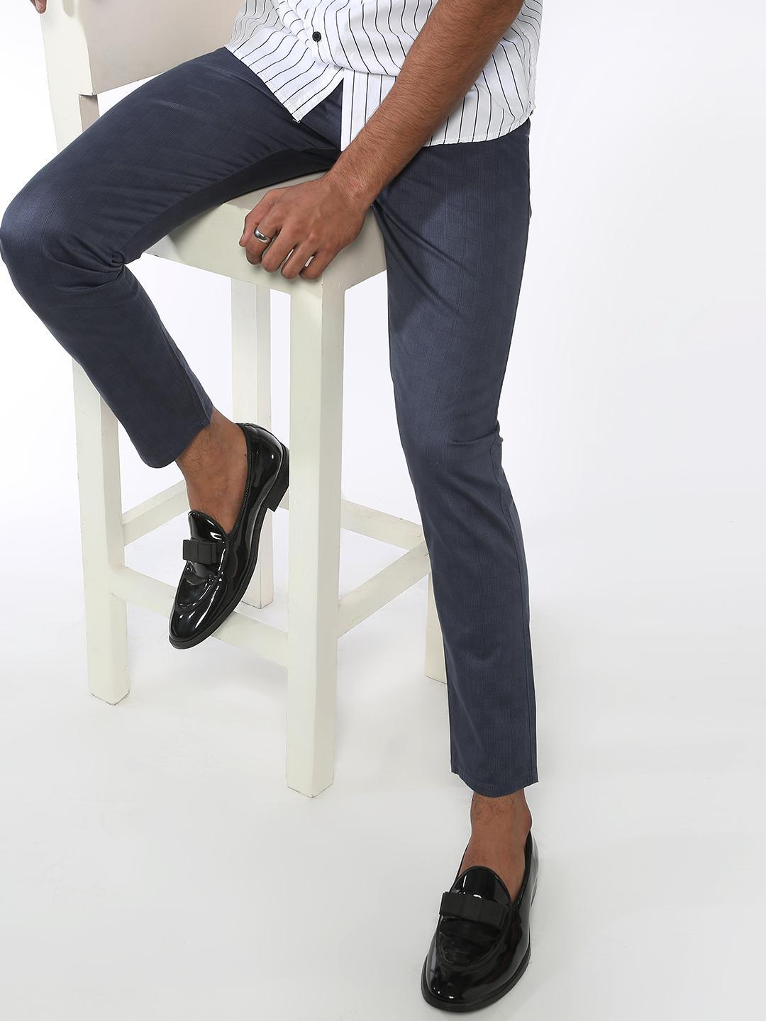 AMON Blue Basic Slim Fit Trousers 1