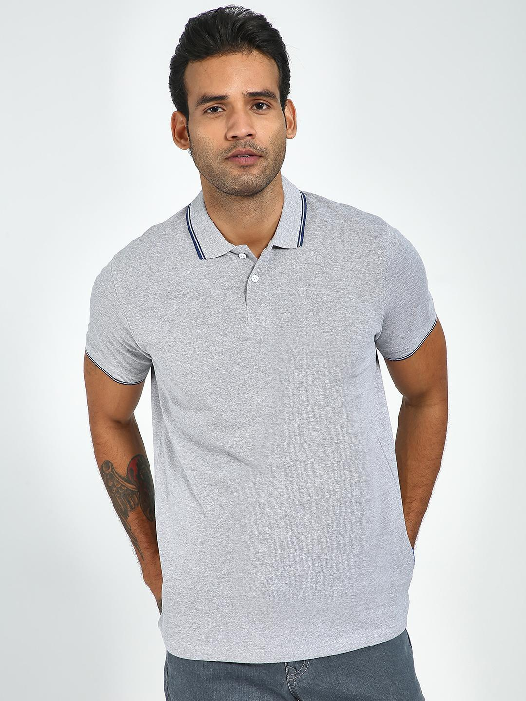 Blue Saint Grey Tipped Collar Polo Shirt 1