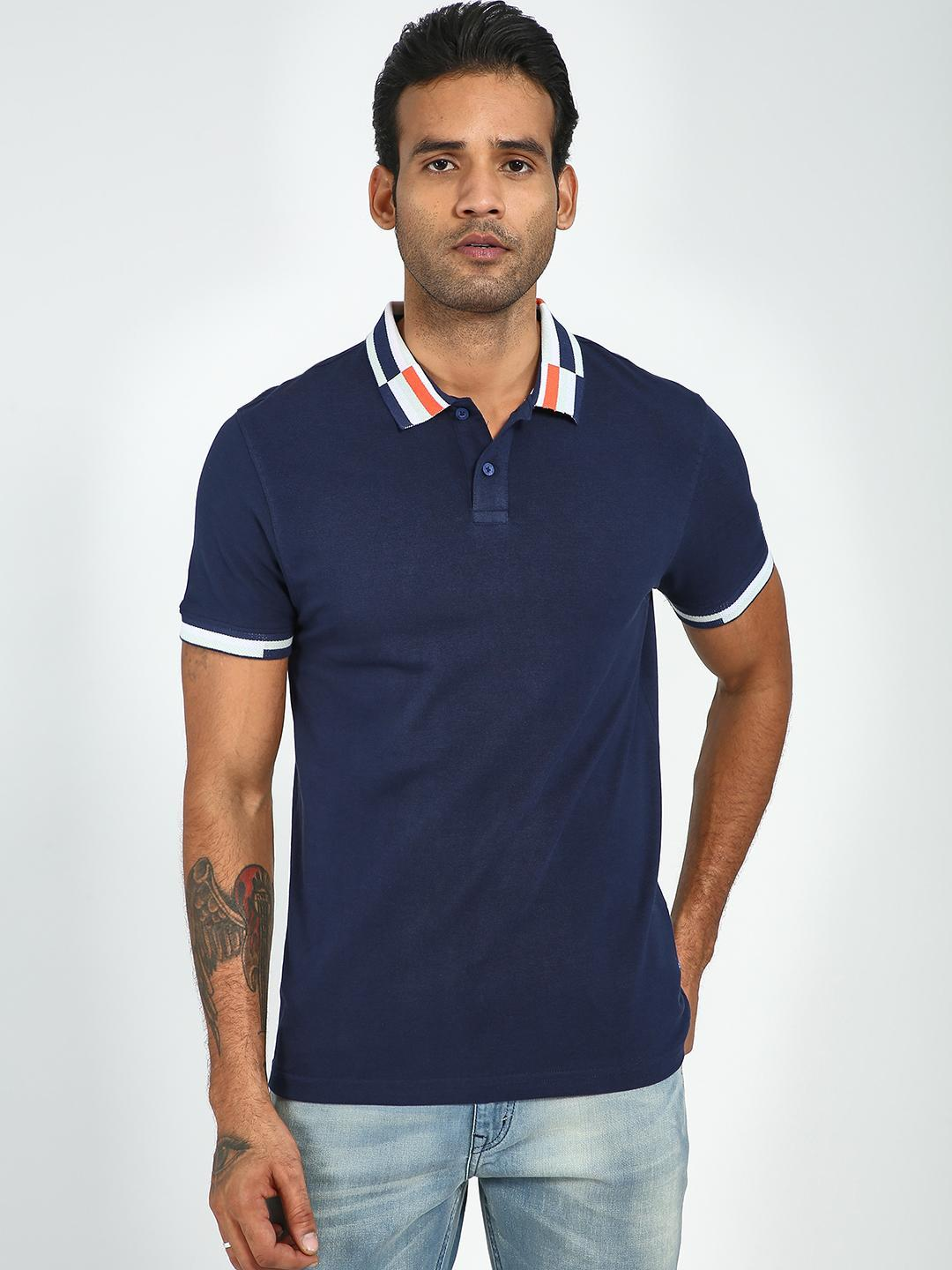 Blue Saint Navy Contrast Collar Polo Shirt 1