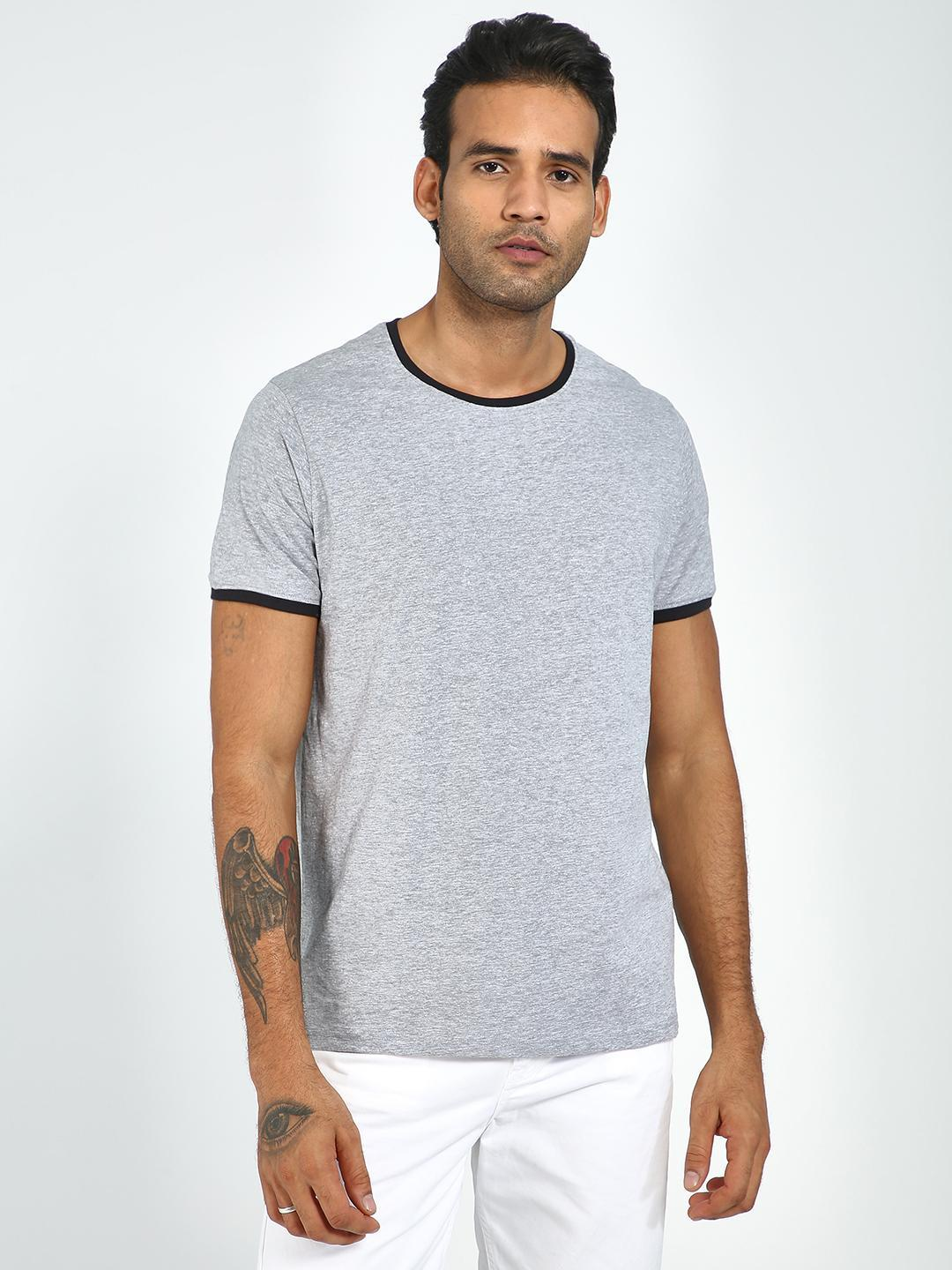 Blue Saint Grey Casual Round Neck T-Shirt 1