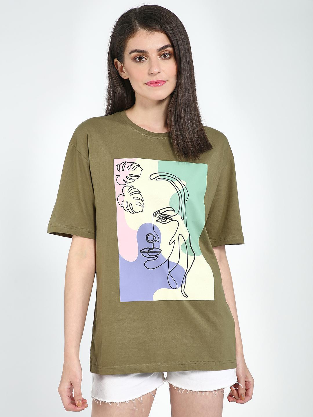 Blue Saint Olive Placement Print Oversized Top 1