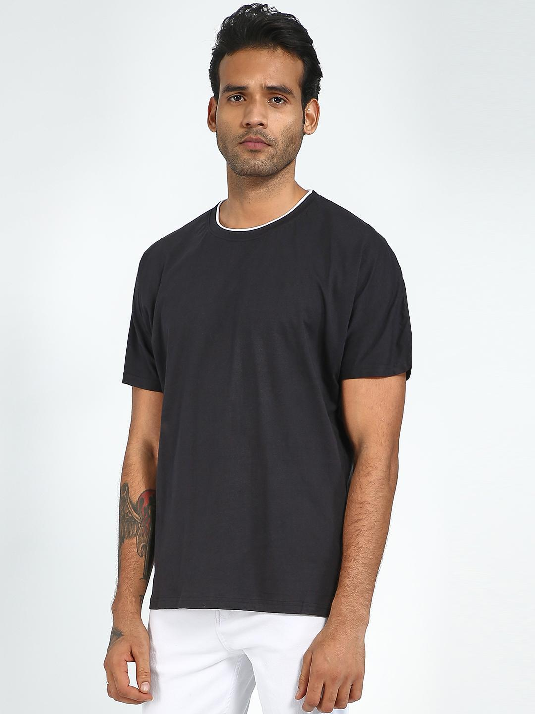Blue Saint Black Men's Black OverSized Round Neck T-Shirt 1