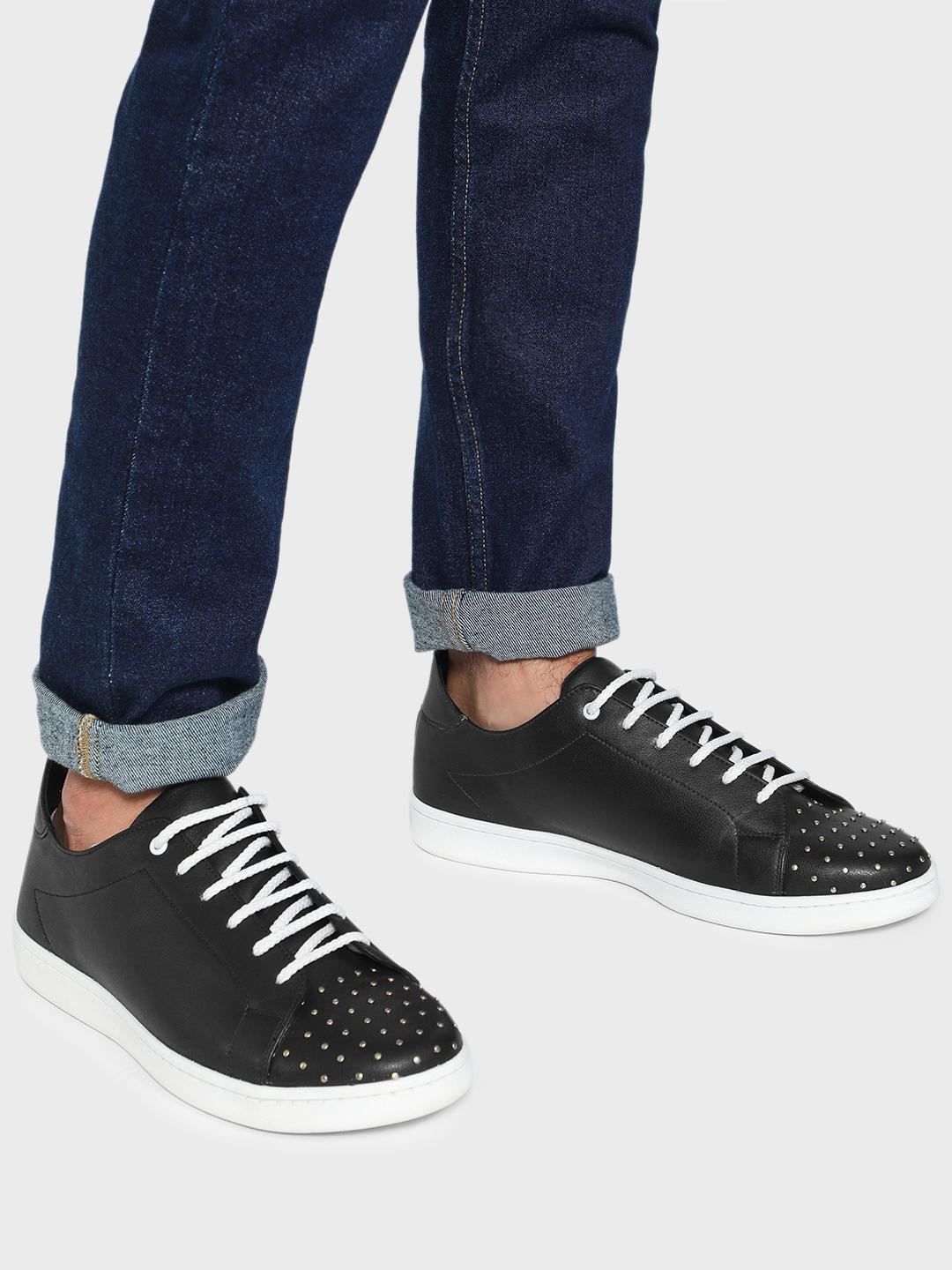 KOOVS Black Studded Toe Lace-Up Sneakers 1