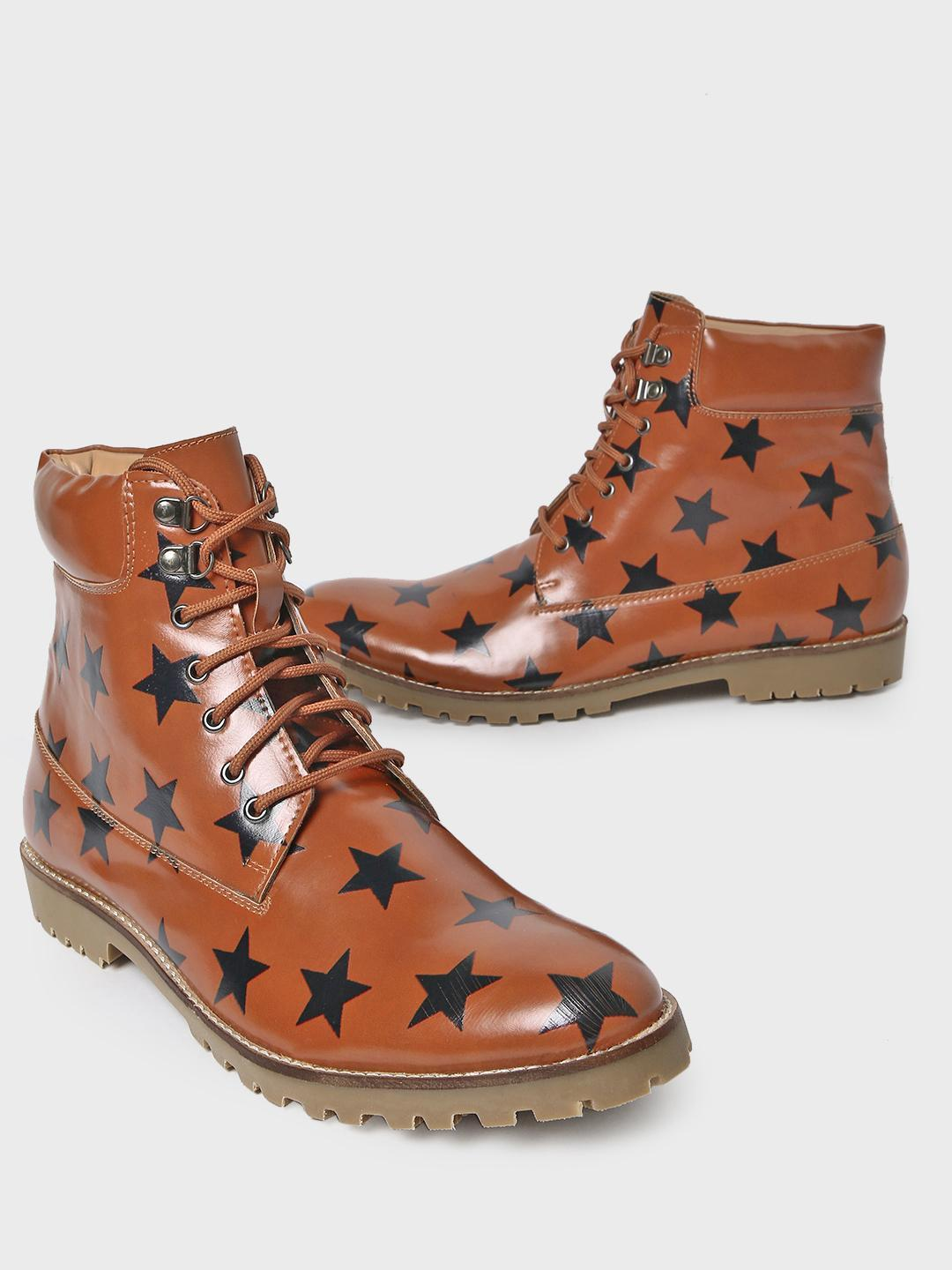 Bolt Of The Good Stuff Brown Star Print Lace-Up Boots 1