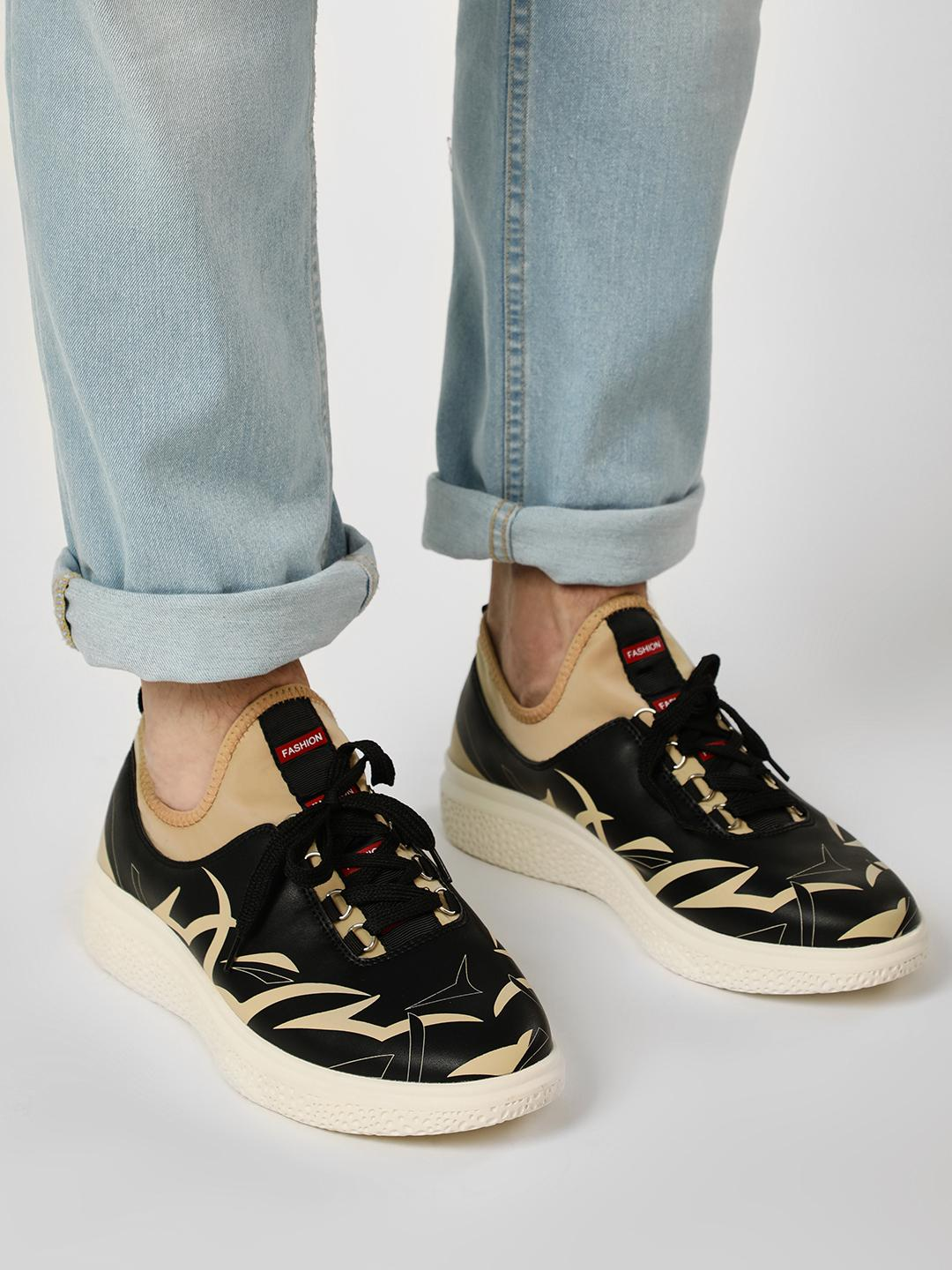 Kindred Black Embedded Sole Printed Sneakers 1