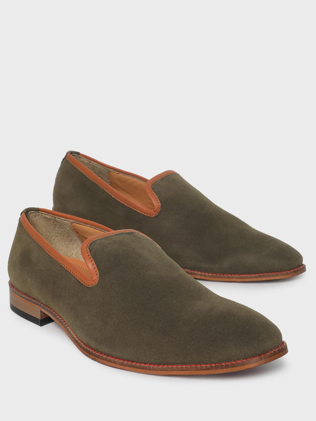Bolt Of The Good Stuff Green Contrast Piping Suede Loafers 1
