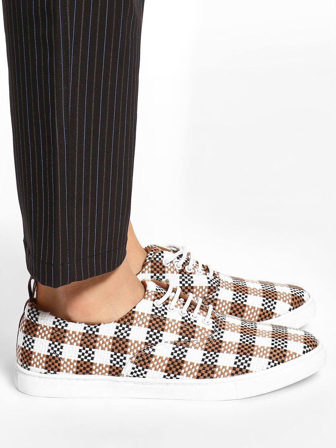 KOOVS Brown Checked Woven Lace-Up Sneakers 1