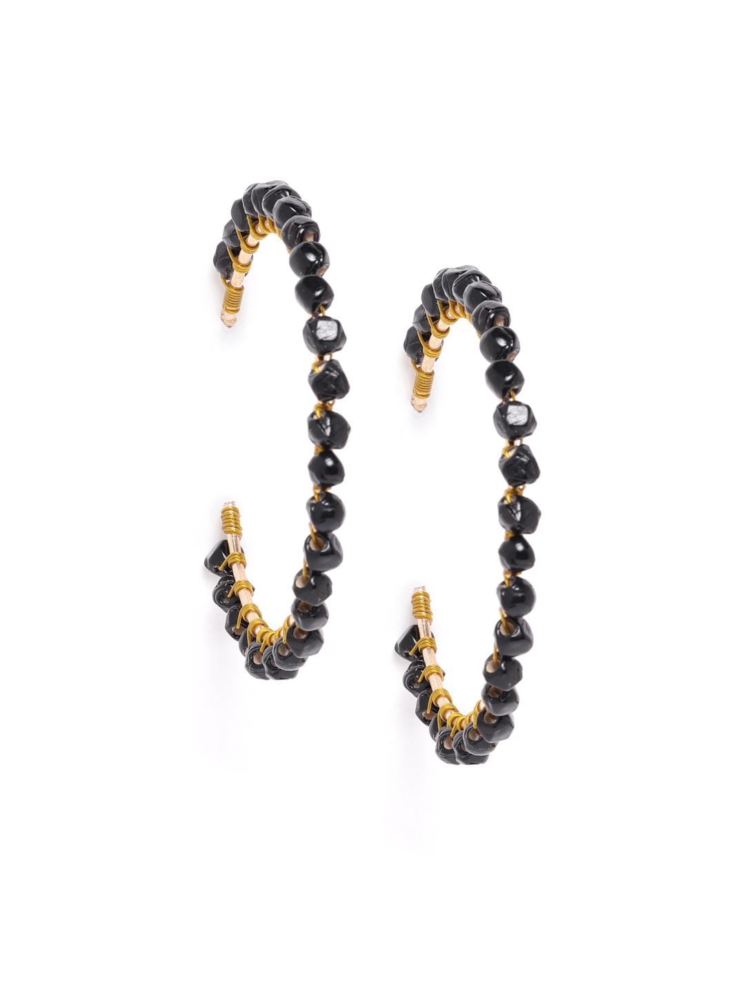 Blueberry Black Beaded Concentric Hoop Earrings 1