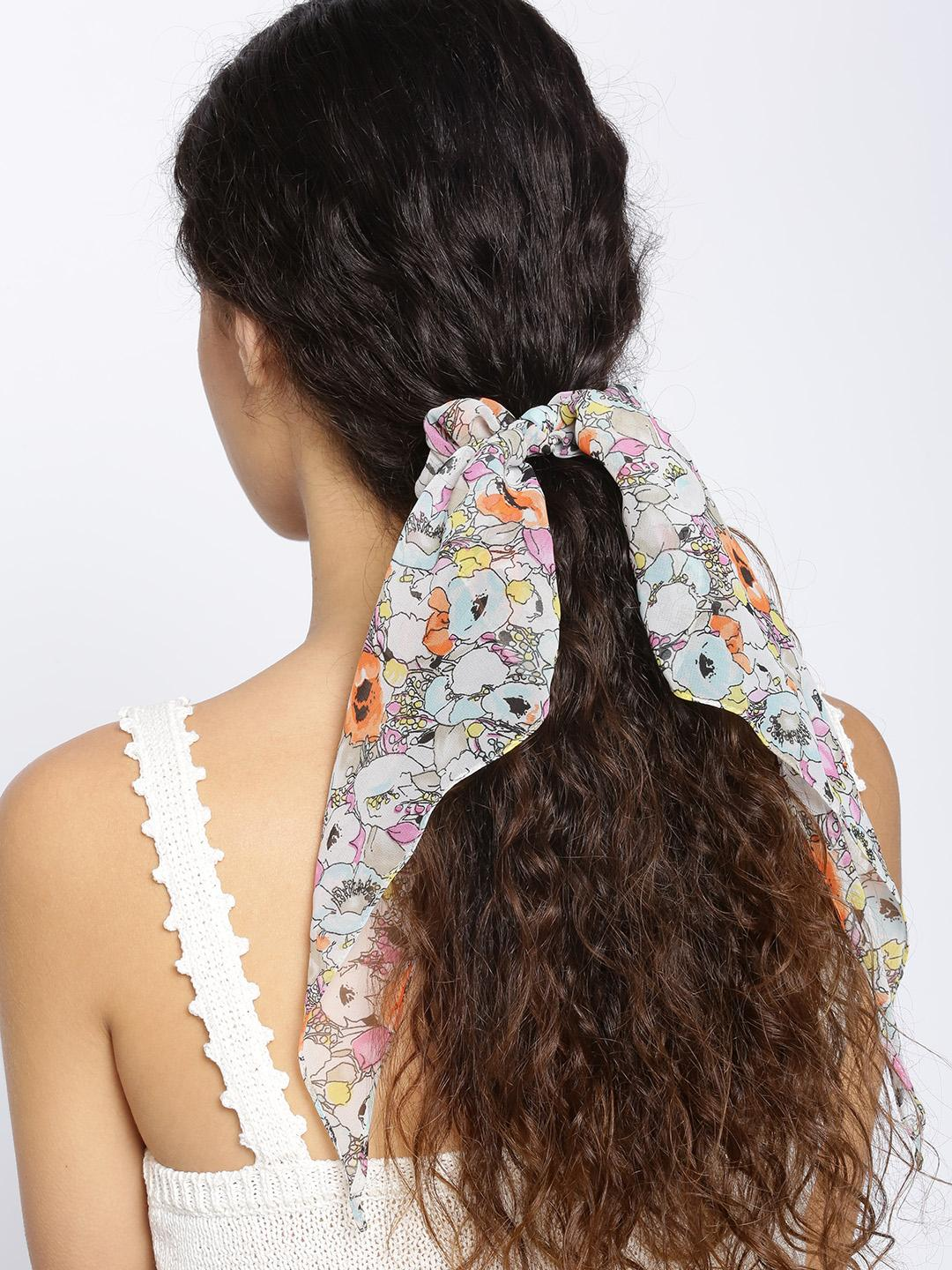 Blueberry Multi Floral Tie-Knot Scrunchie 1