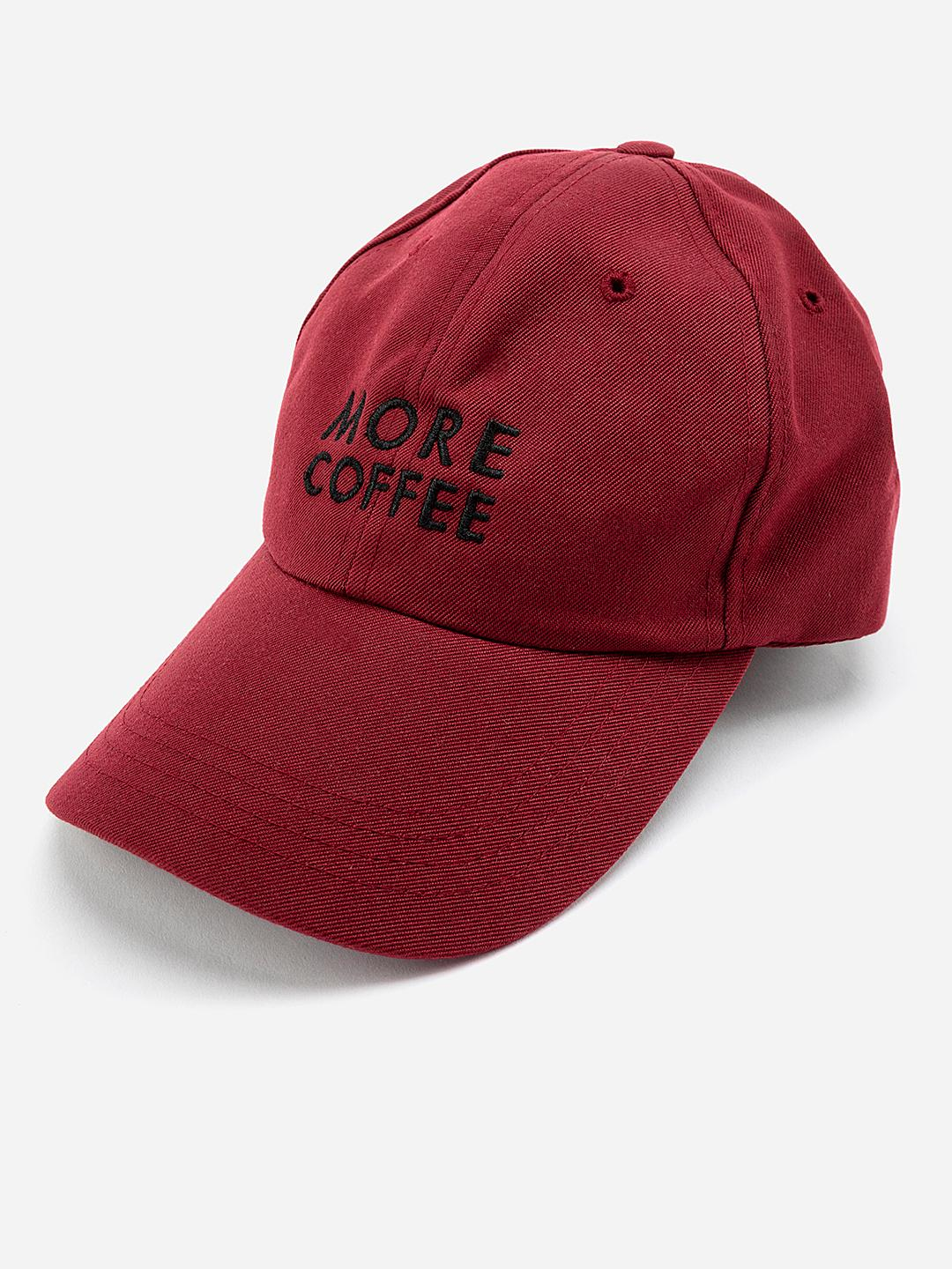 Lazy Panda Maroon More Coffee Embroidered Baseball Cap 1