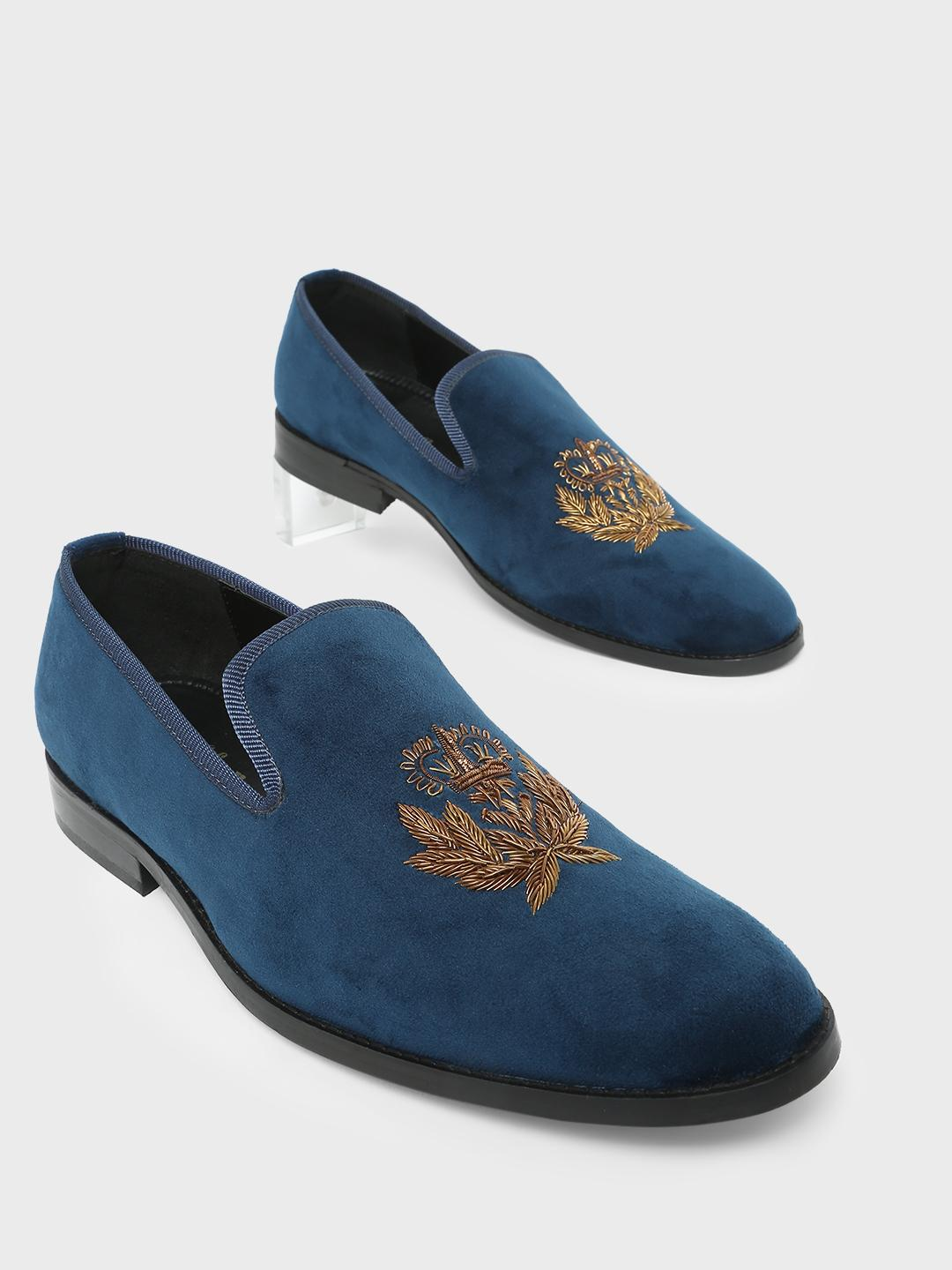 Griffin Navy Embroidery Casual Loafers 1
