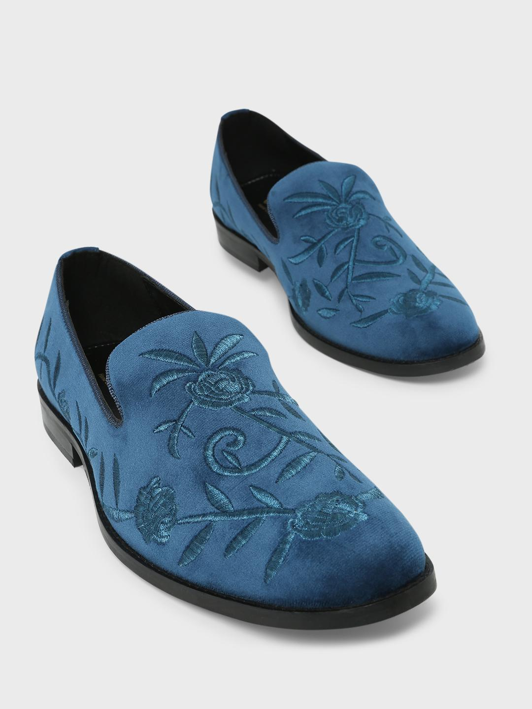 Griffin Navy Embroidered Loafers 1