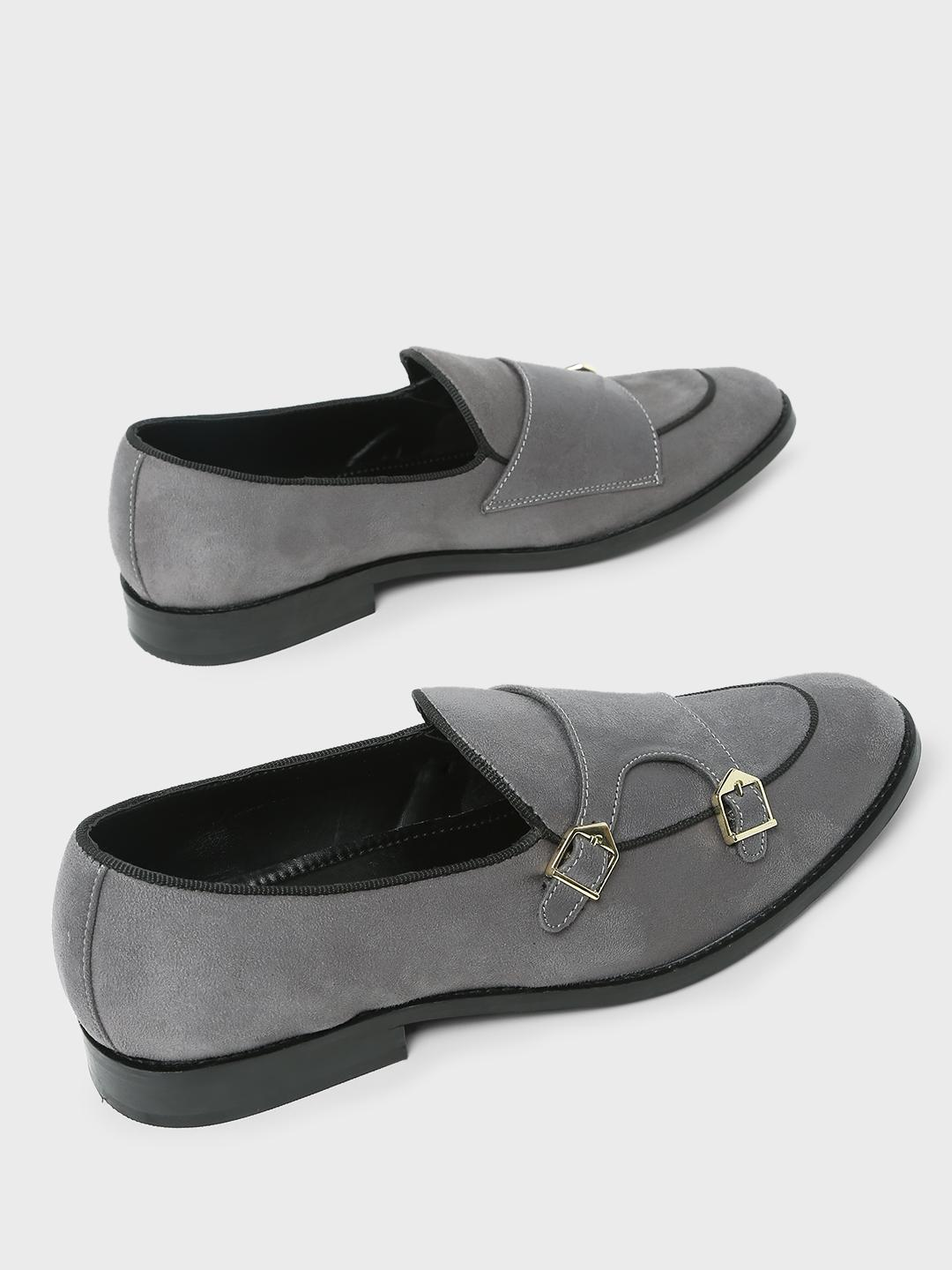 Griffin Grey Monk Strap Loafers 1