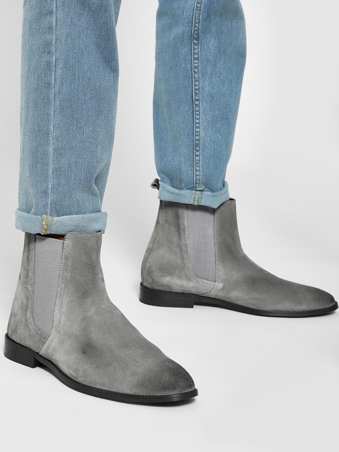 Griffin Grey Two-Tone Suede Chelsea Boots 1