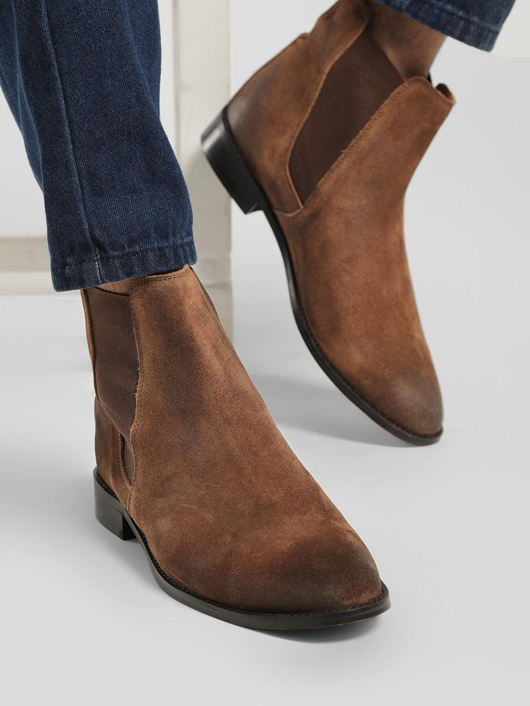 Griffin Brown Two-Tone Suede Chelsea Boots 1