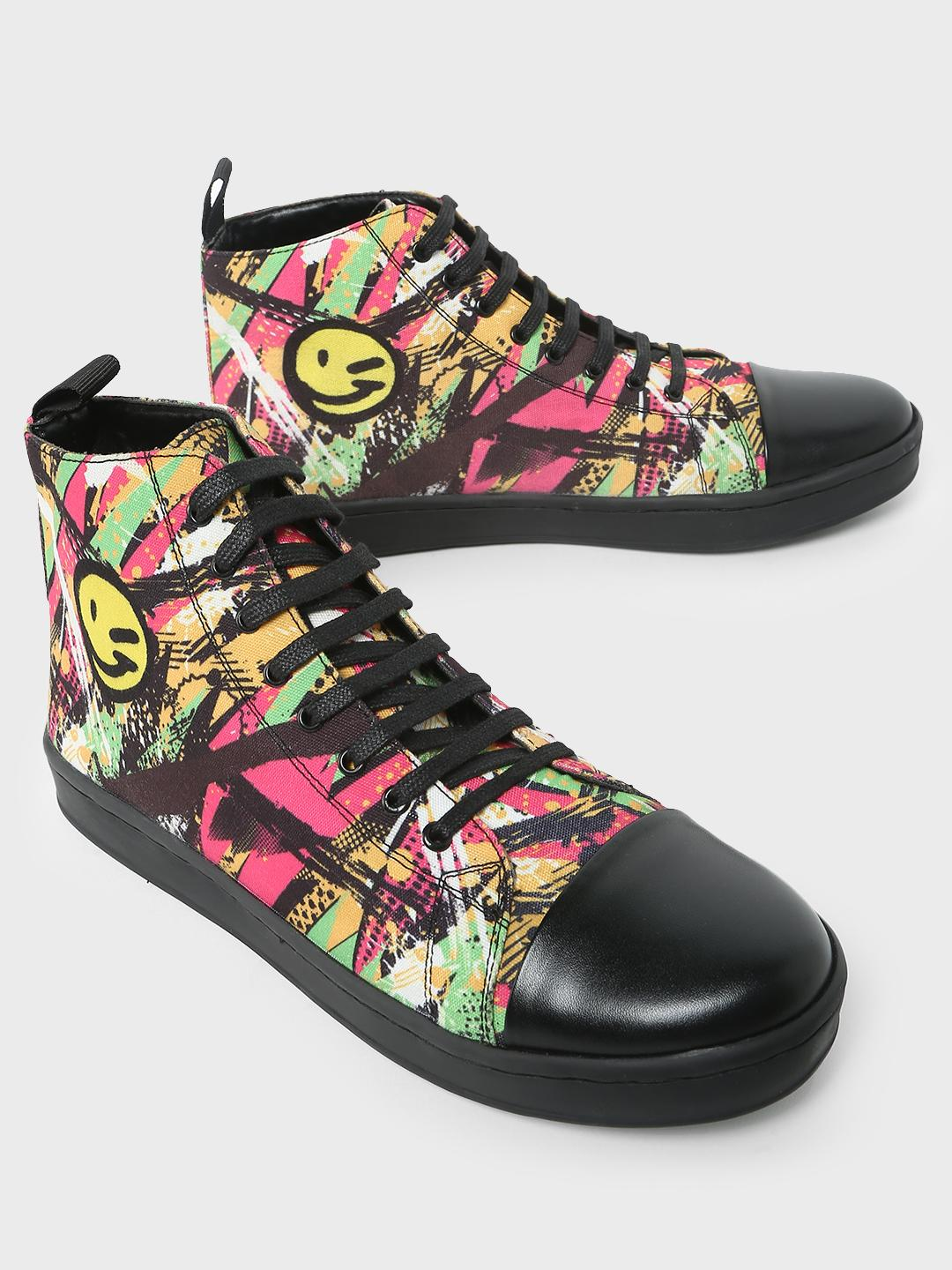 KOOVS Multi Abstract Printed Canvas Shoes 1
